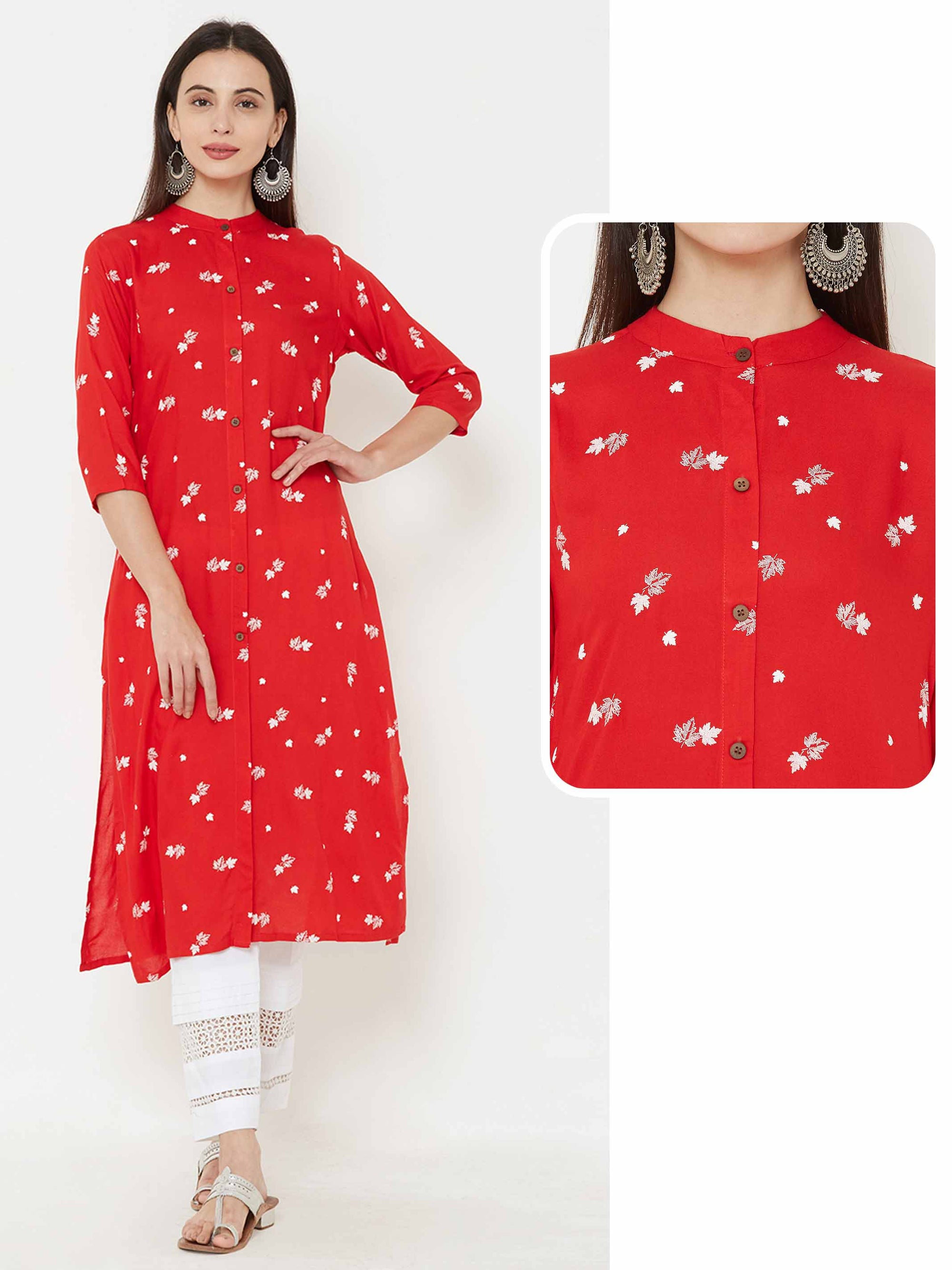 Autumn Leaf printed Kurta – Red