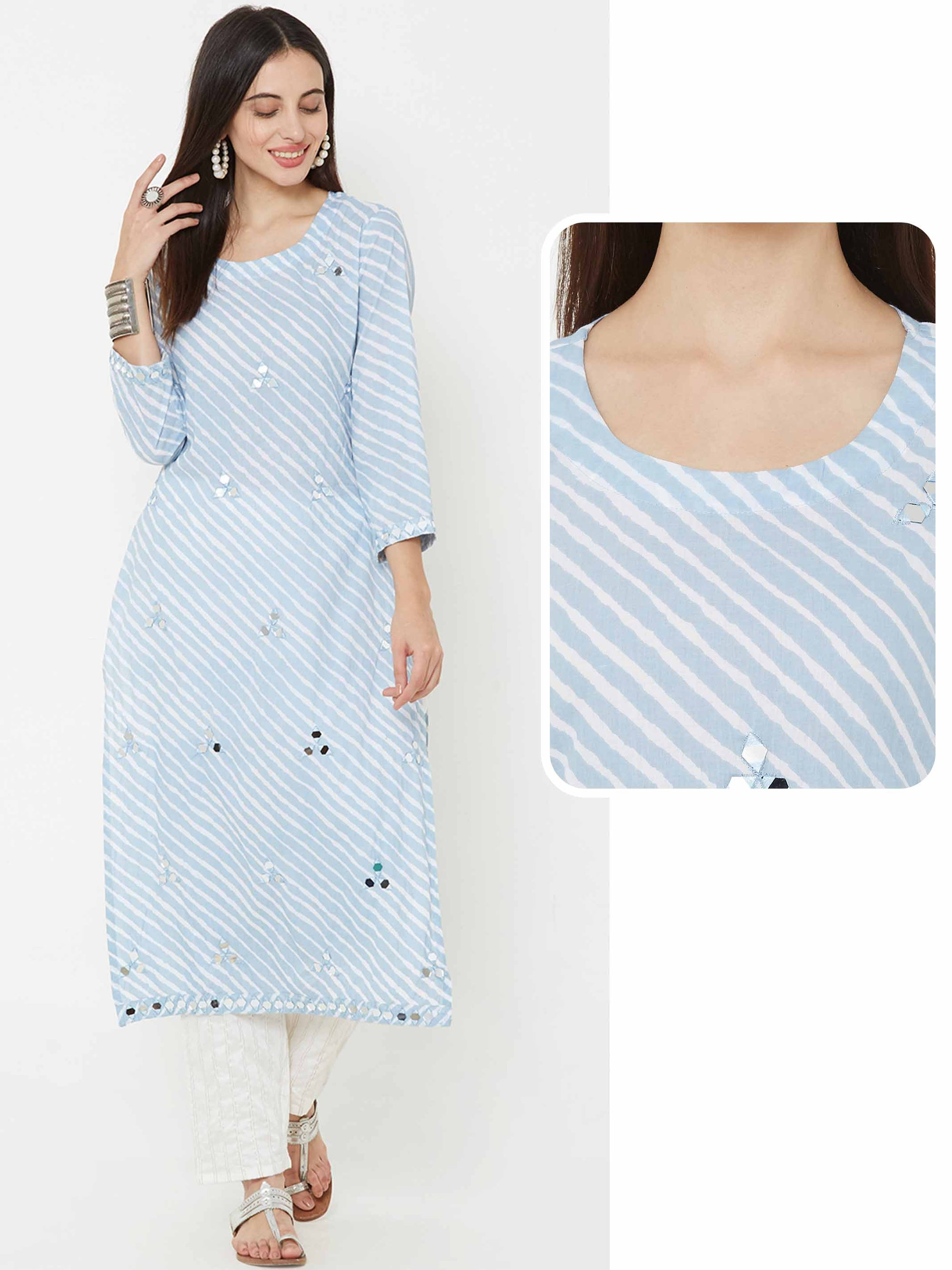 Mirror Embroidered & lehariya printed Kurta – Light Blue