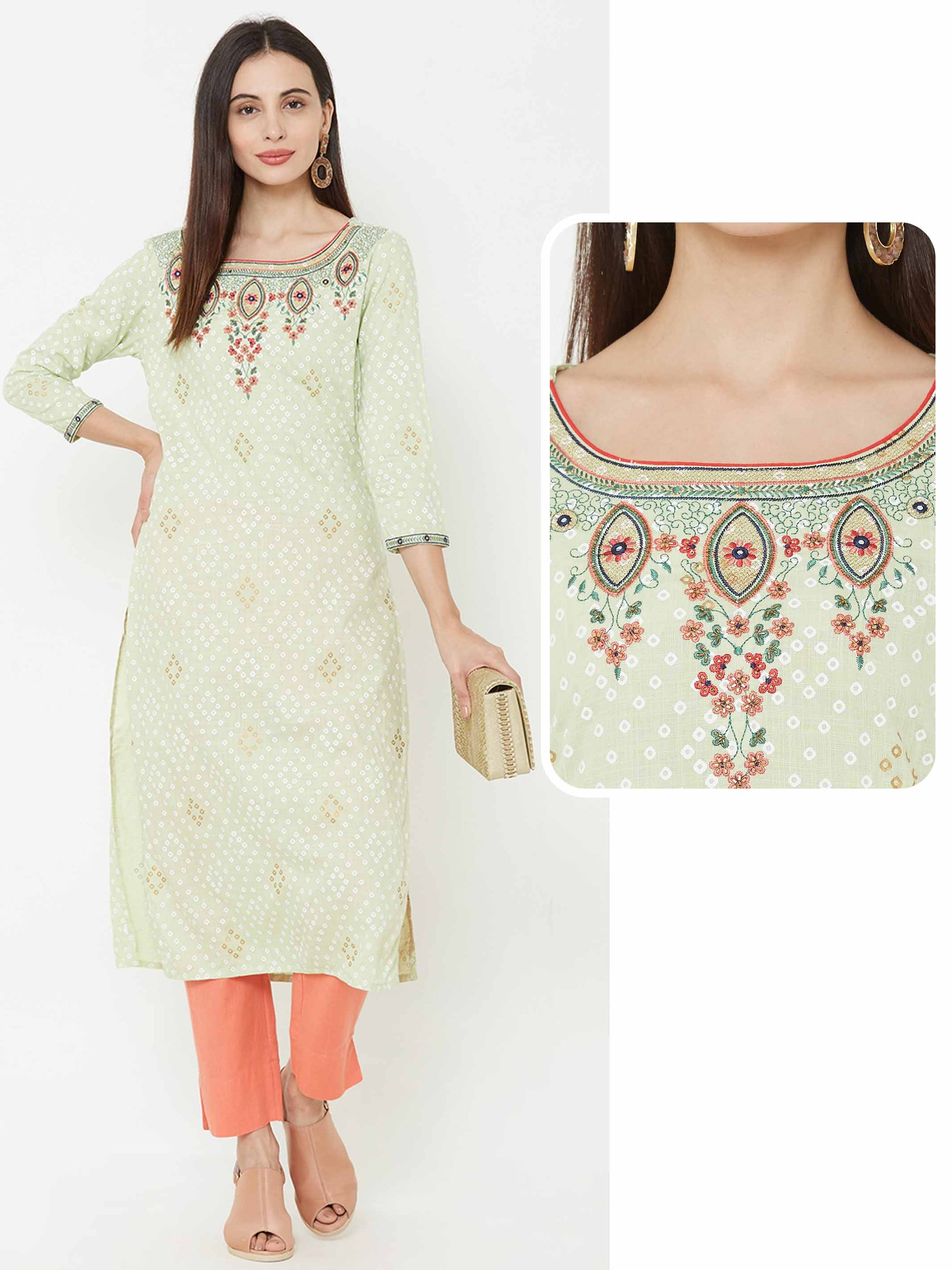 Floral Embroidered & bandhani printed Kurta – Green