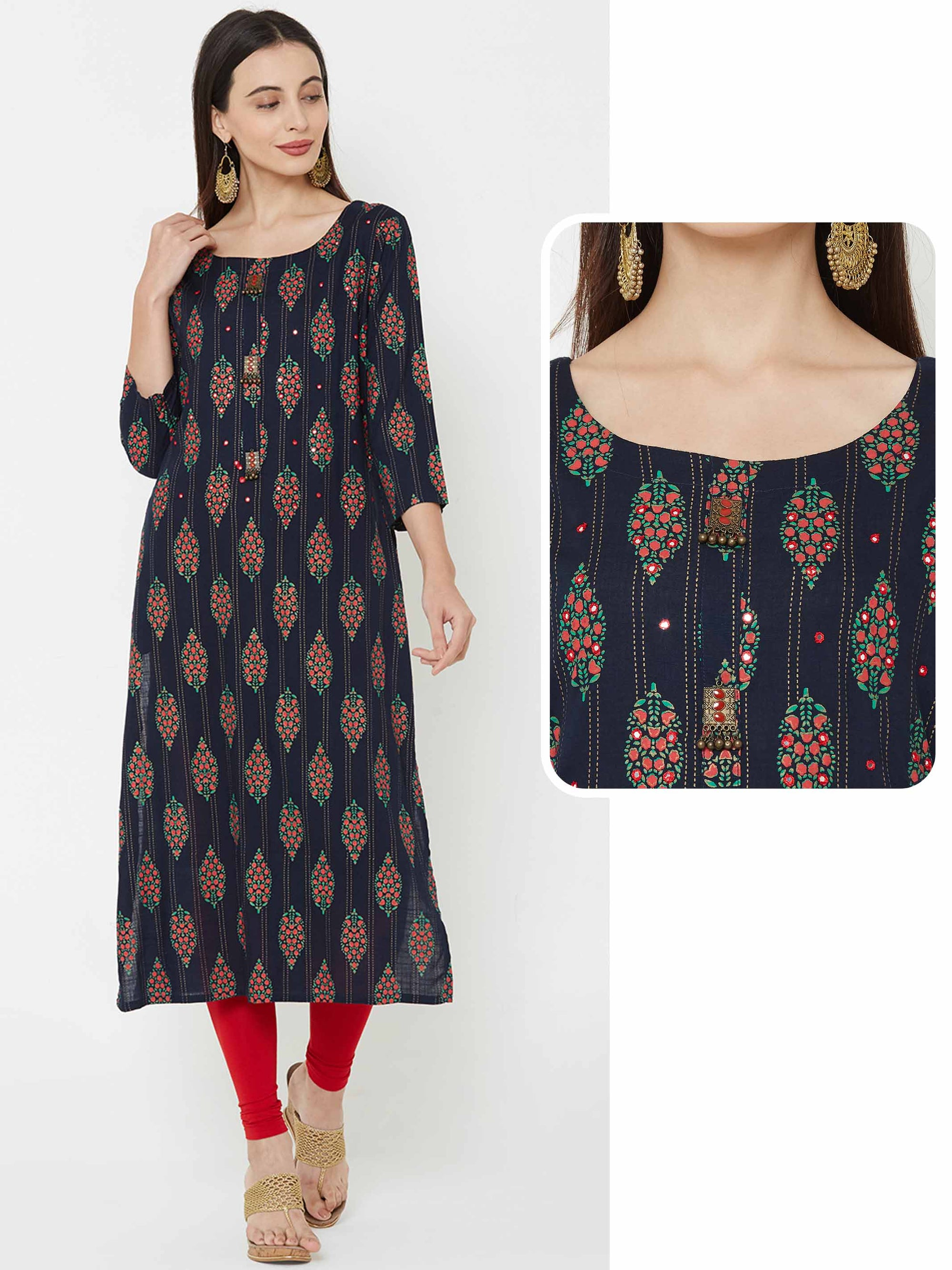 Floral & Stripes foil printed  Kurta - Blue