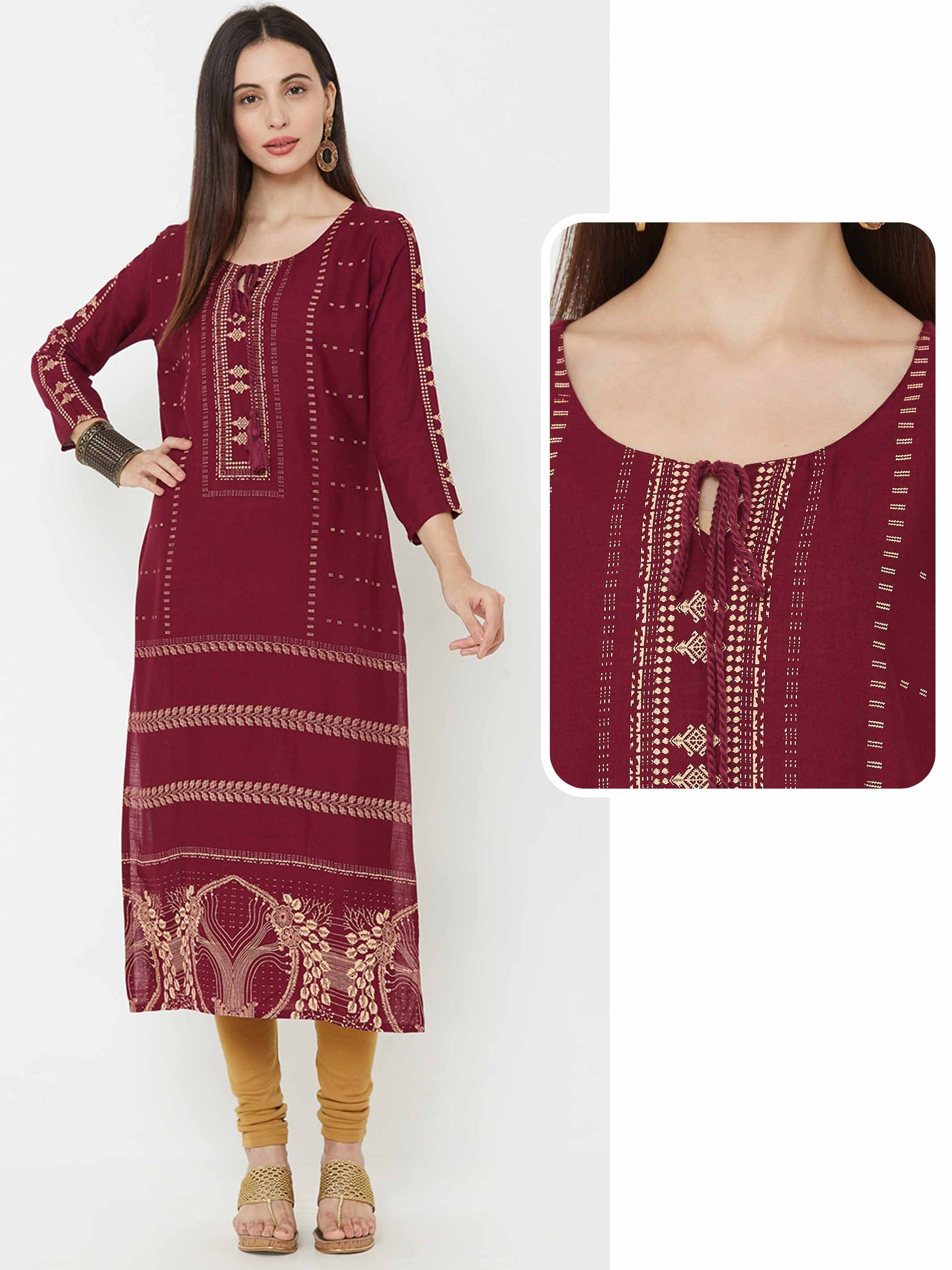 Ethnic Foil Printed Straight Kurta - Wine