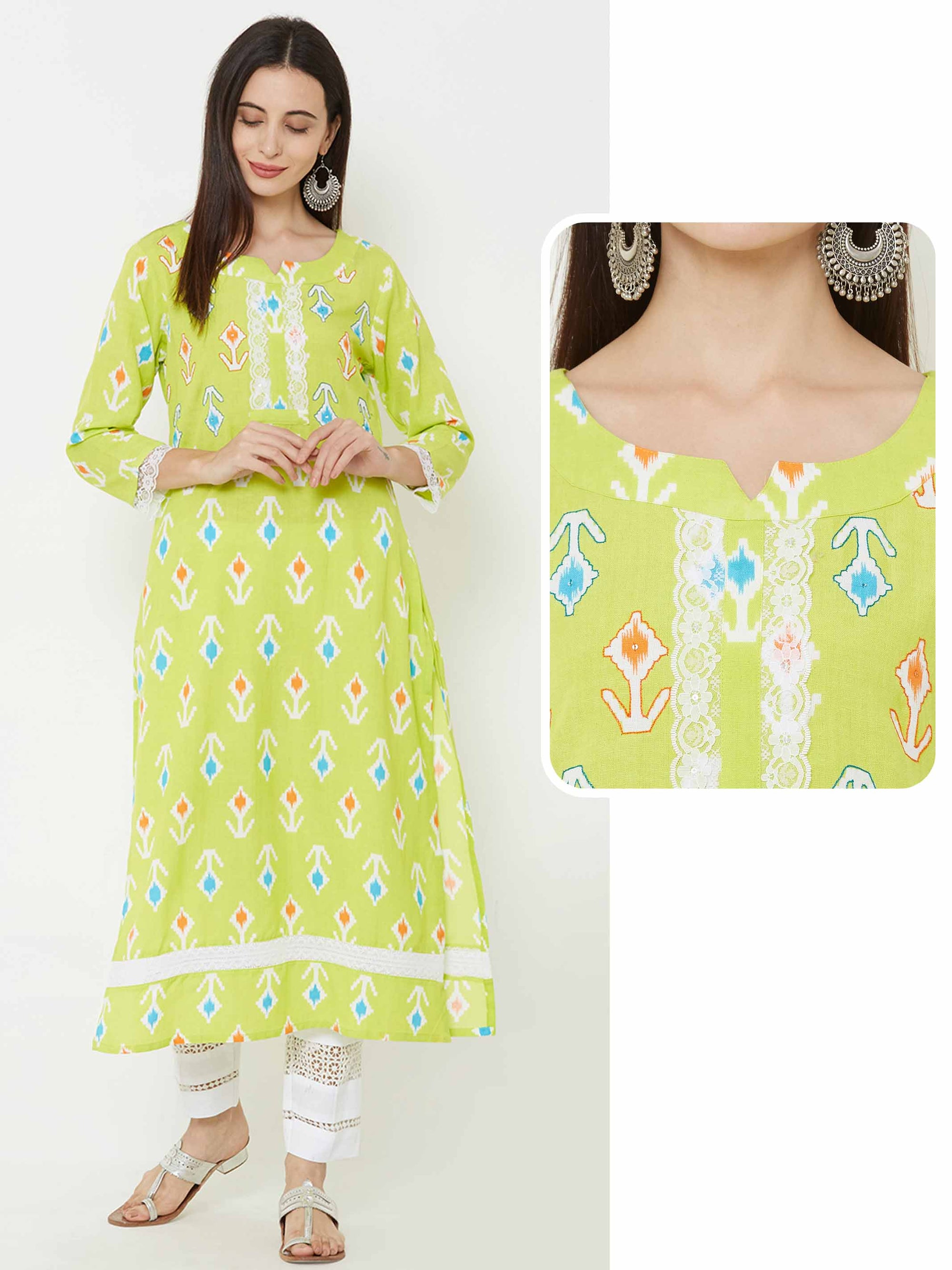 Abstract Printed kurta with crochet lace detailing – Lime Green