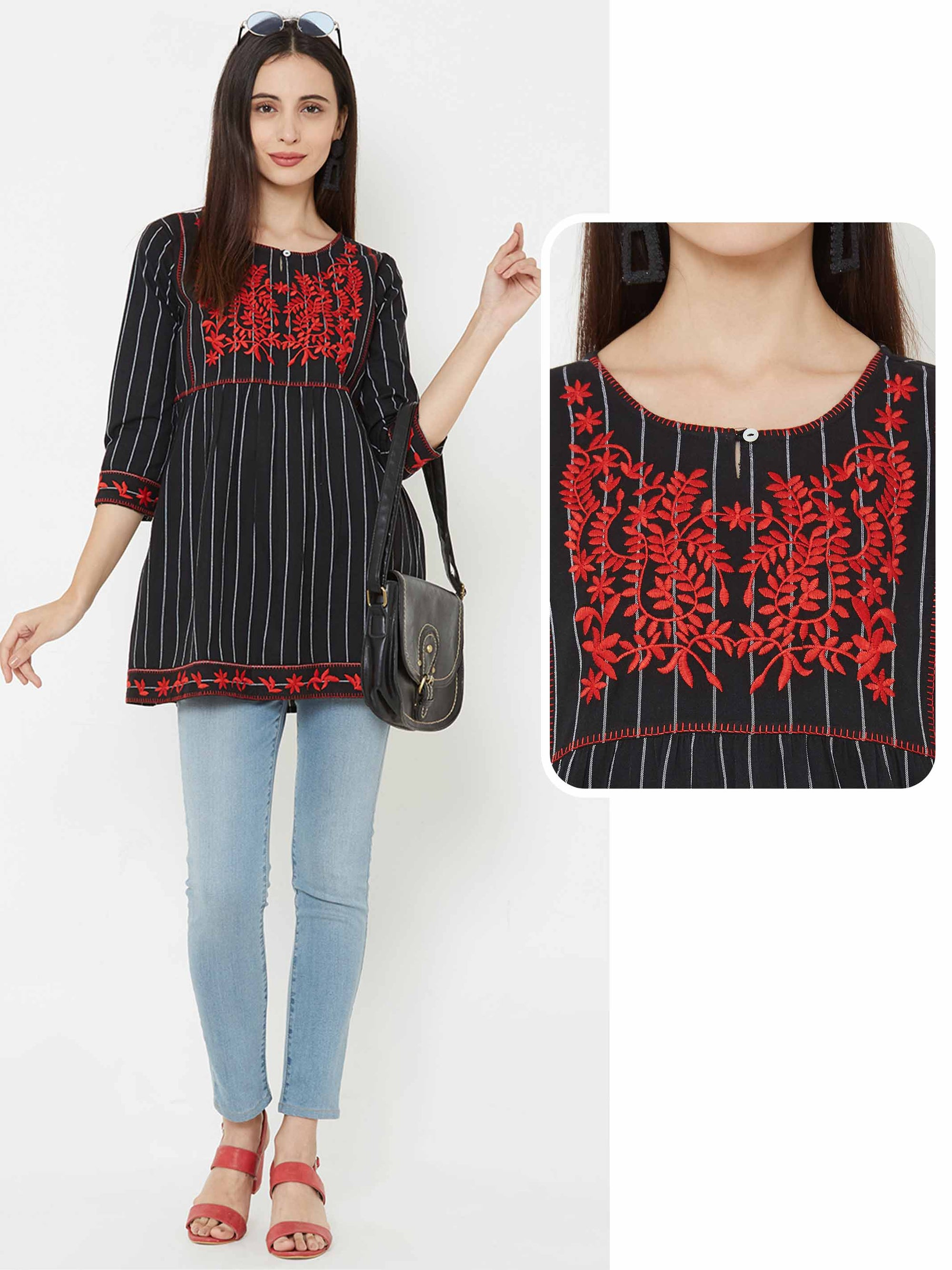 Floral Embroidered & striped short Kurta – Black