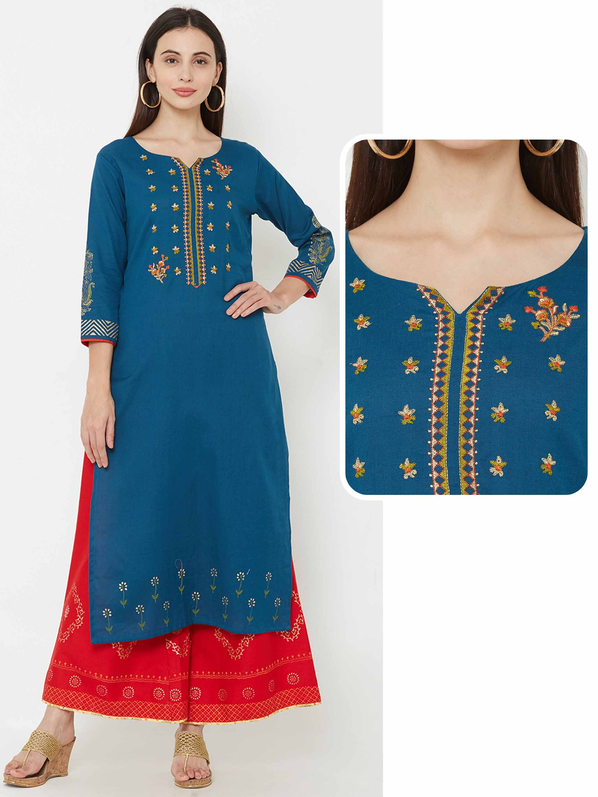Minimal Floral Embroidered Kurta – Teal Blue