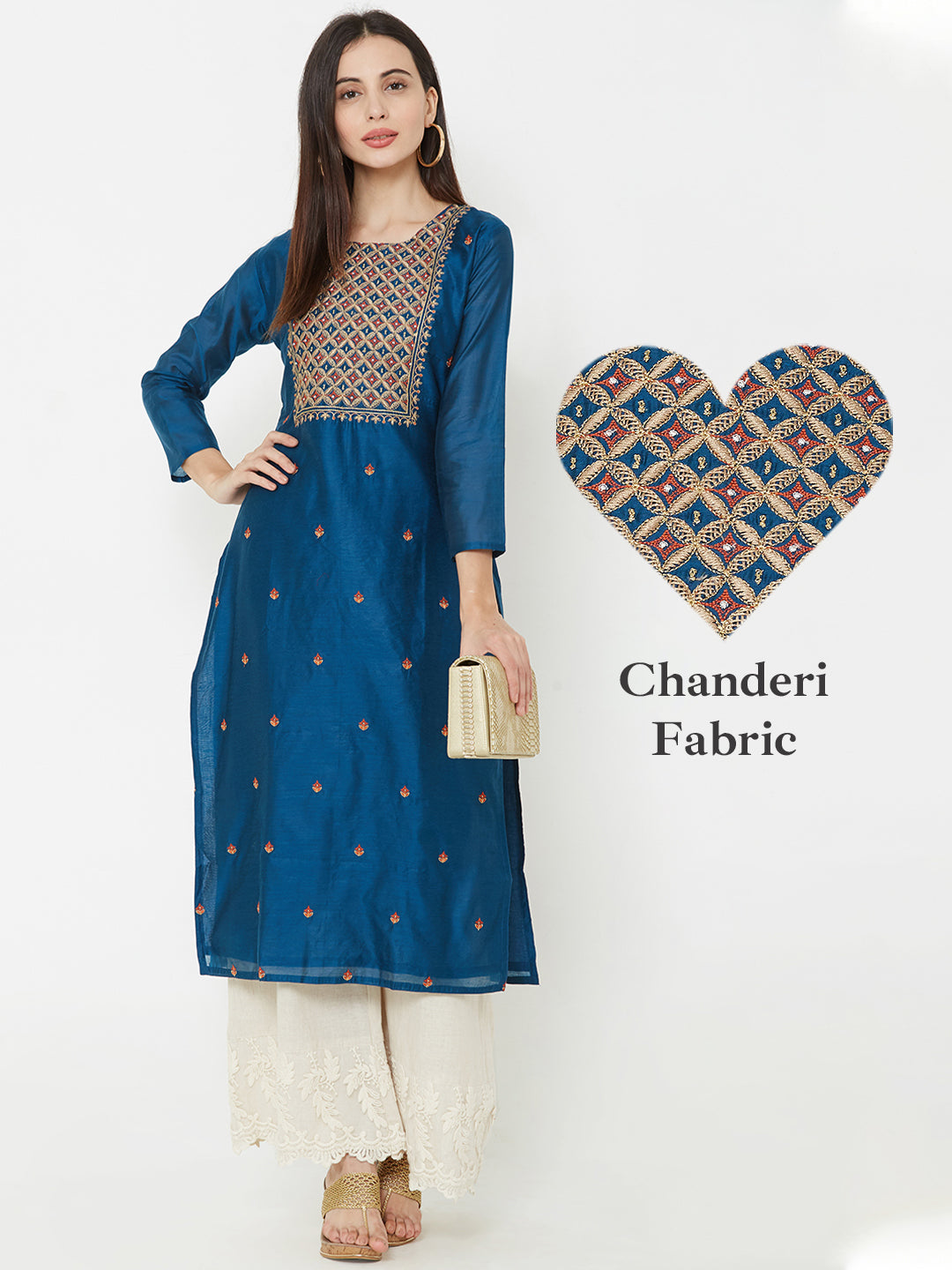 Floral Embroidered chanderi Kurta – Teal Blue