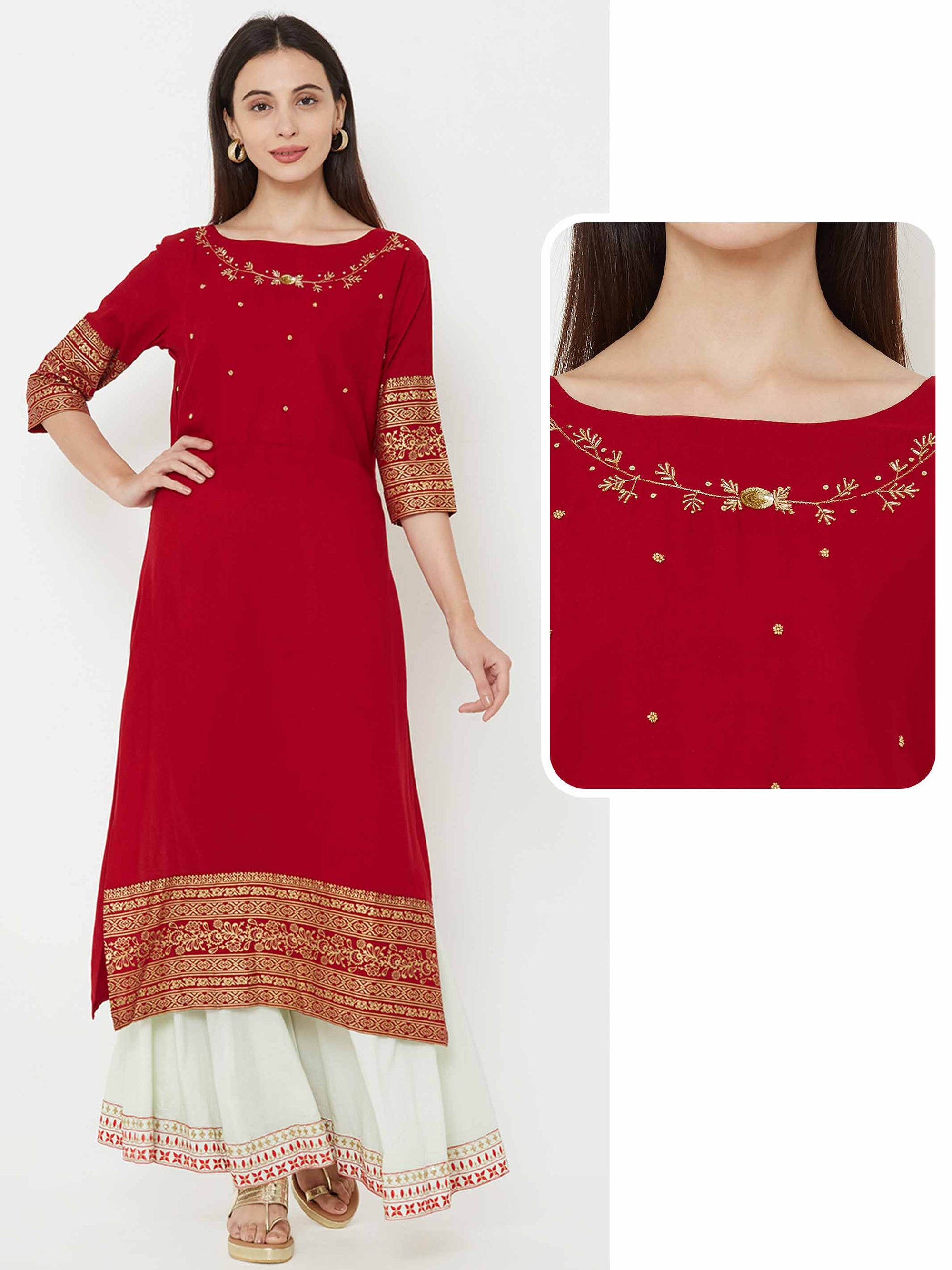 Foil Printed & Embellished kurta – Red