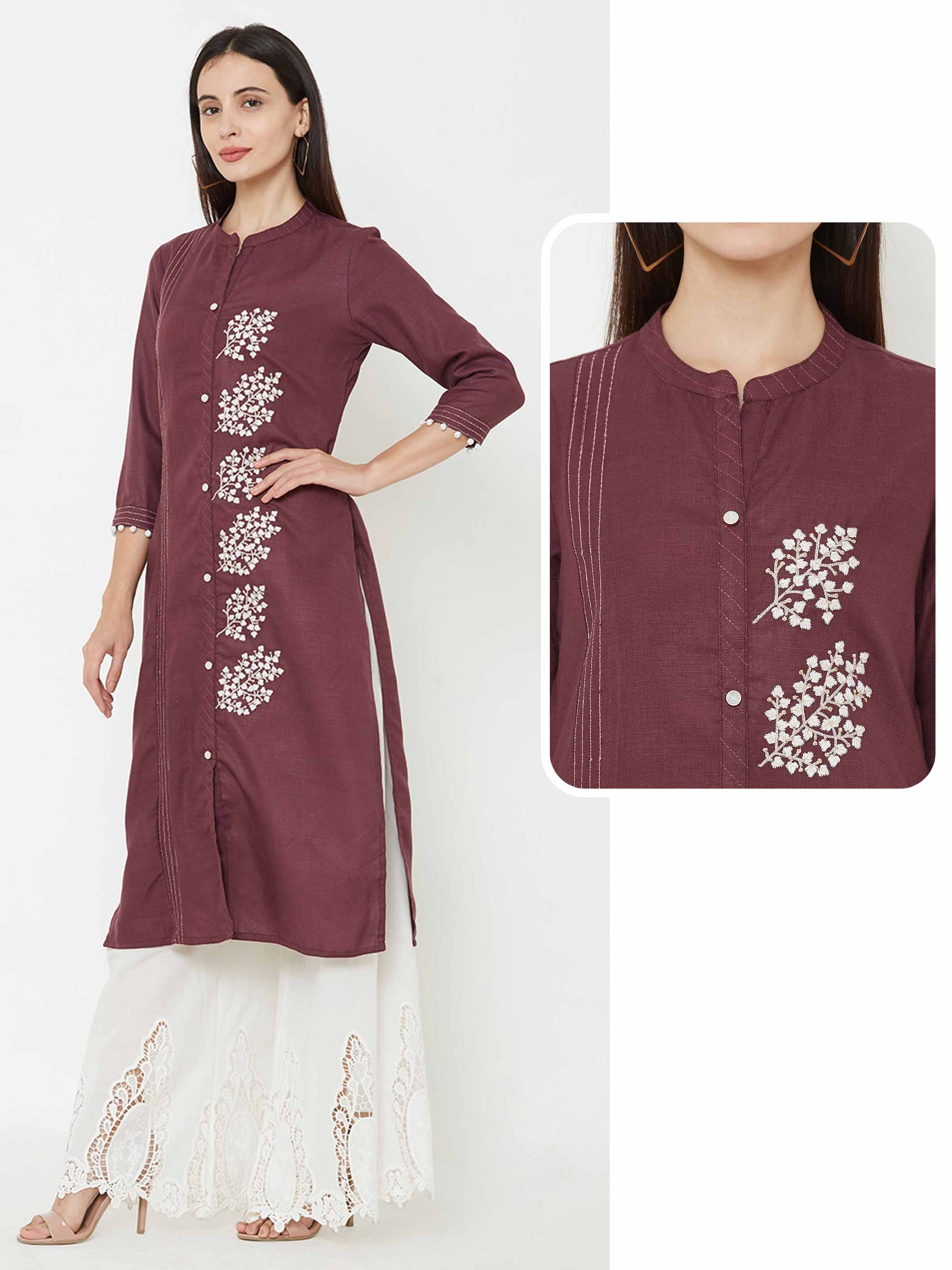 Placement leaf embroidered kurta – Wine