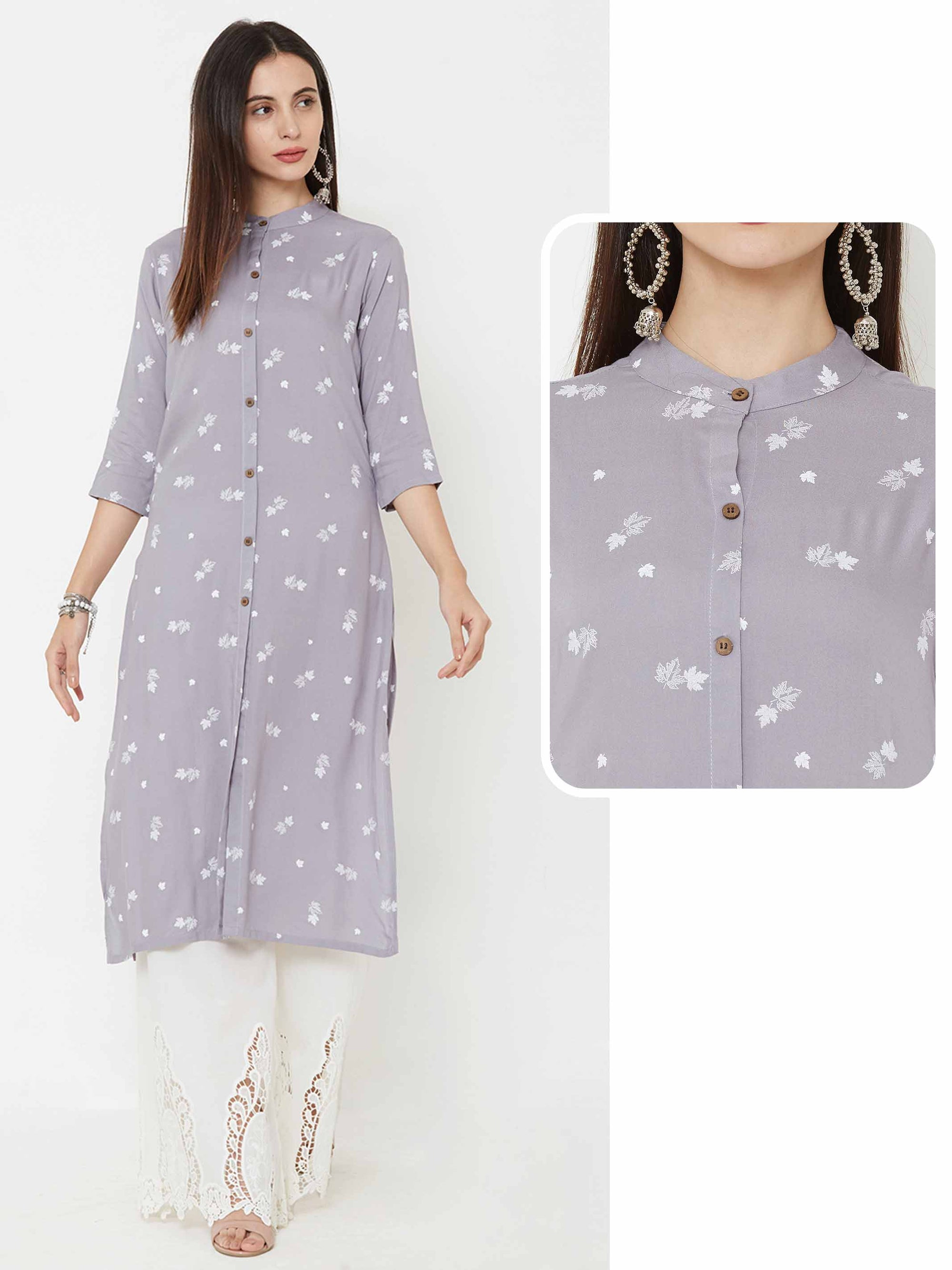 Autumn Leaf printed Kurta – Grey