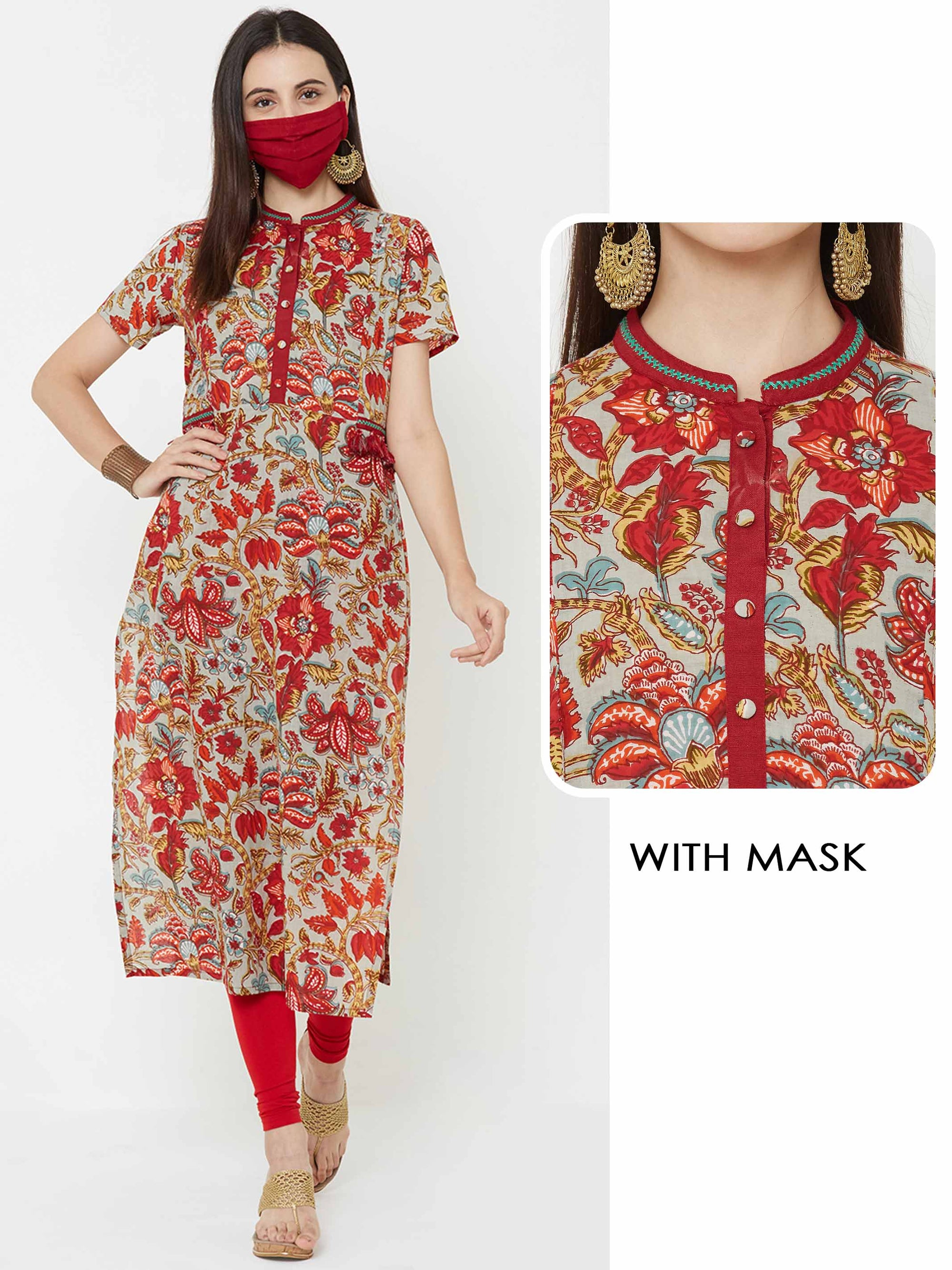 Floral printed tassel Kurta with mask – Multi