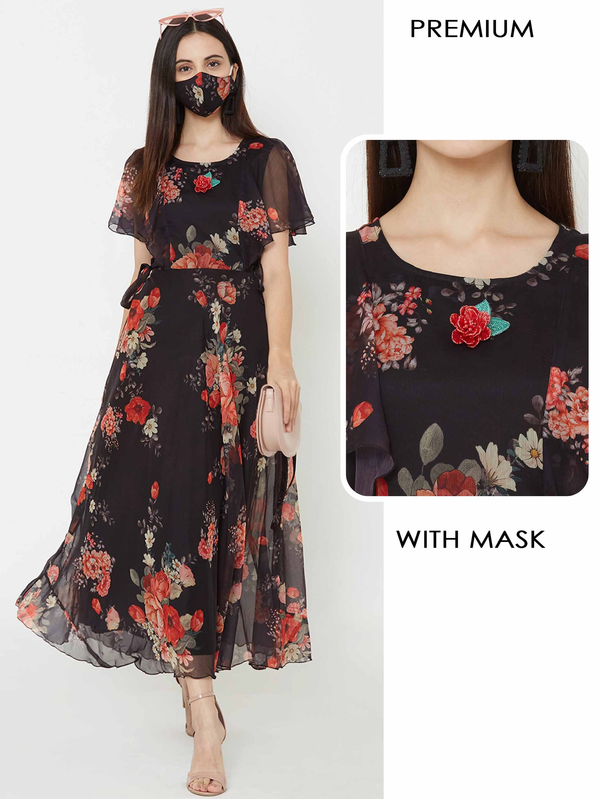 Floral Printed A-line Dress with Matching Mask – Black