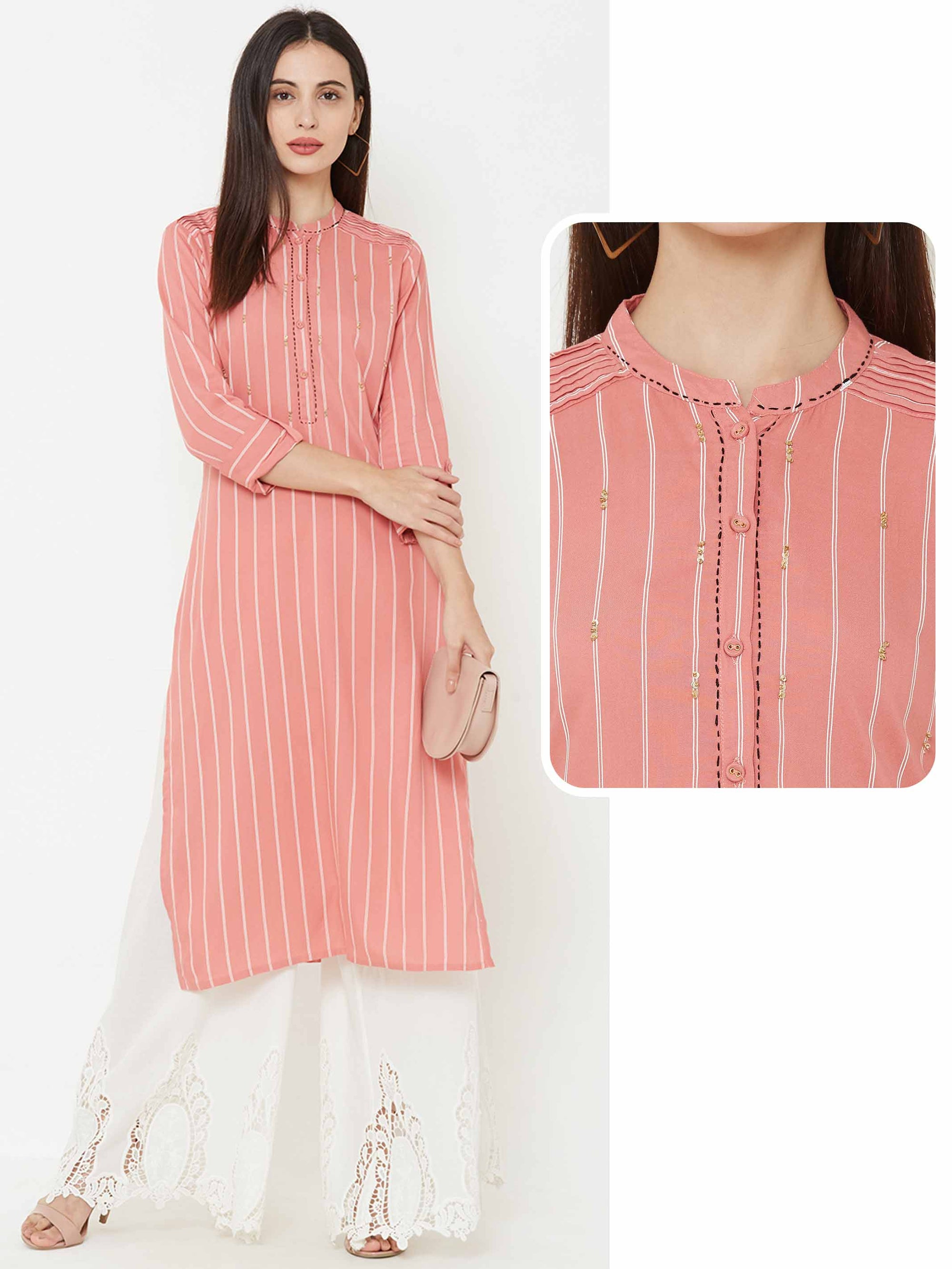 Striped and pintucked sequins kurta – Pink