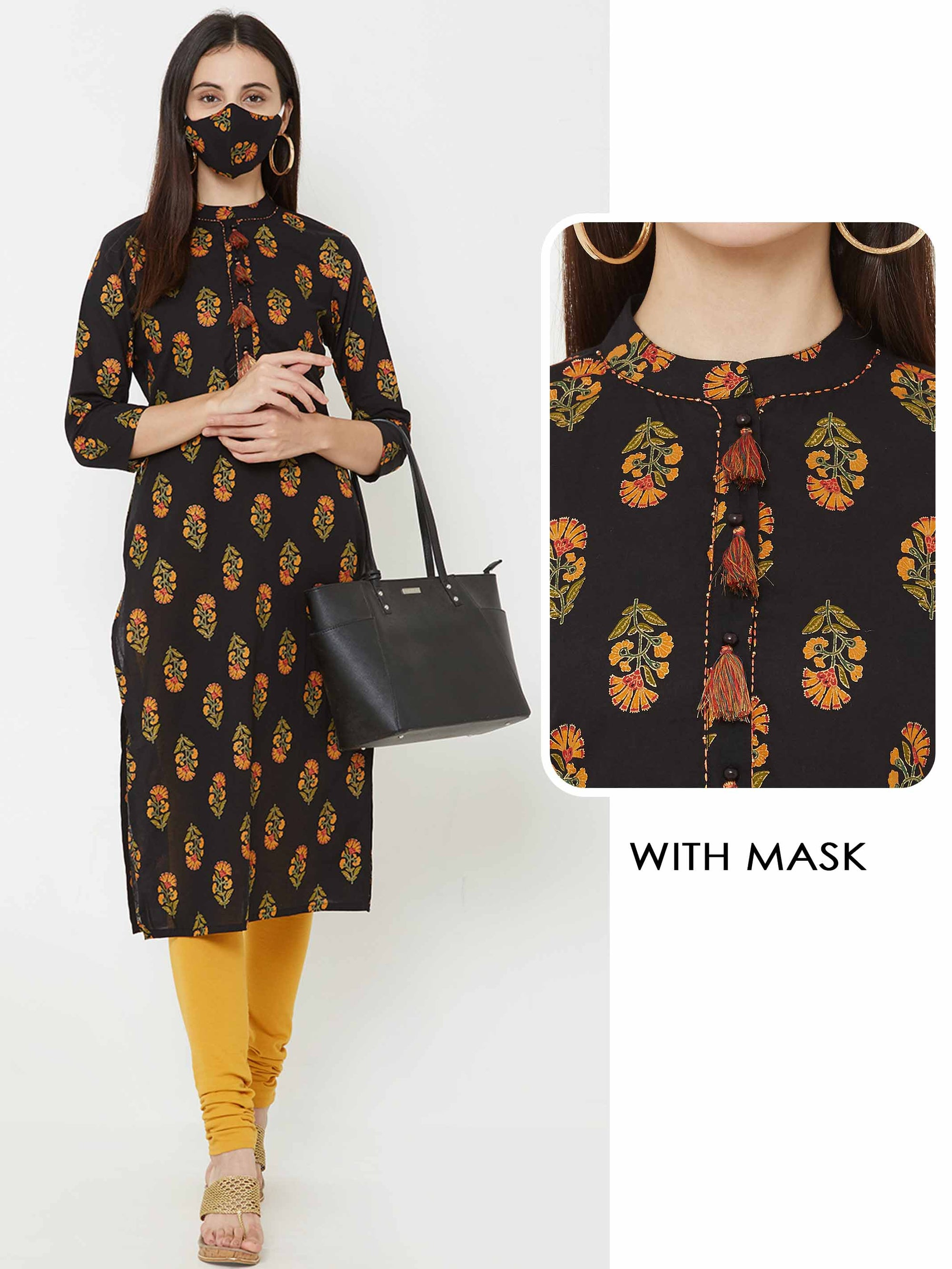 Floral Printed Straight Kurta With Matching Mask – Black