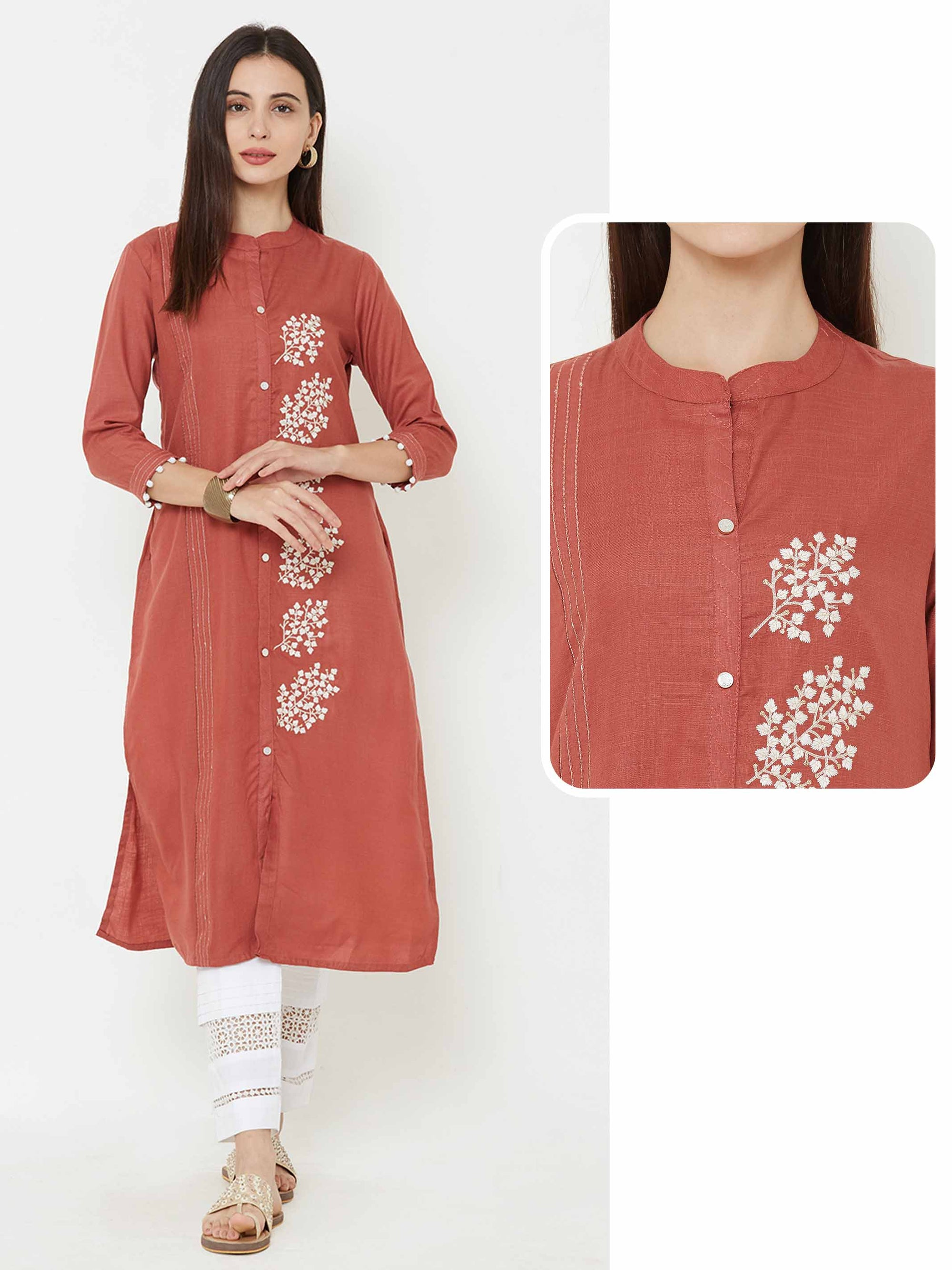 Placement leaf embroidered kurta – Rust