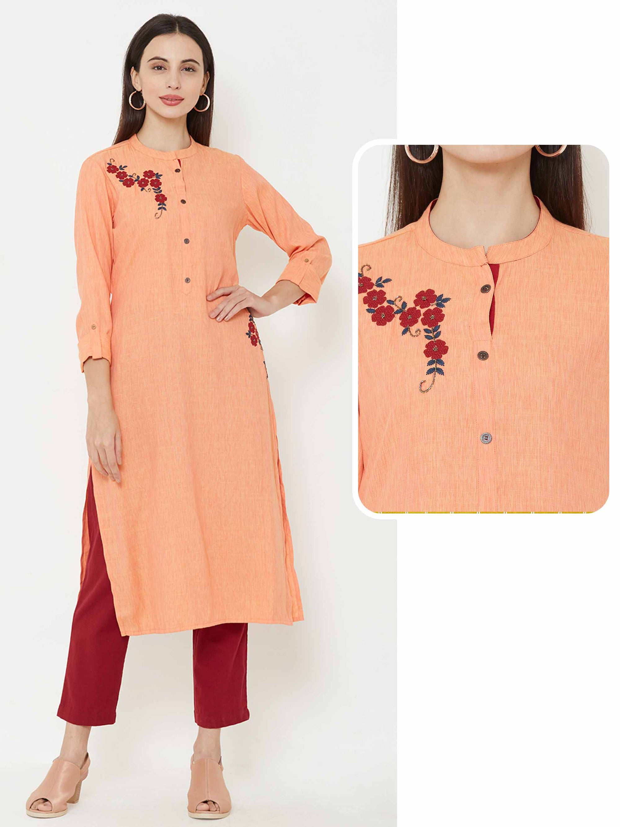 Applique embroidered kurta – Peach
