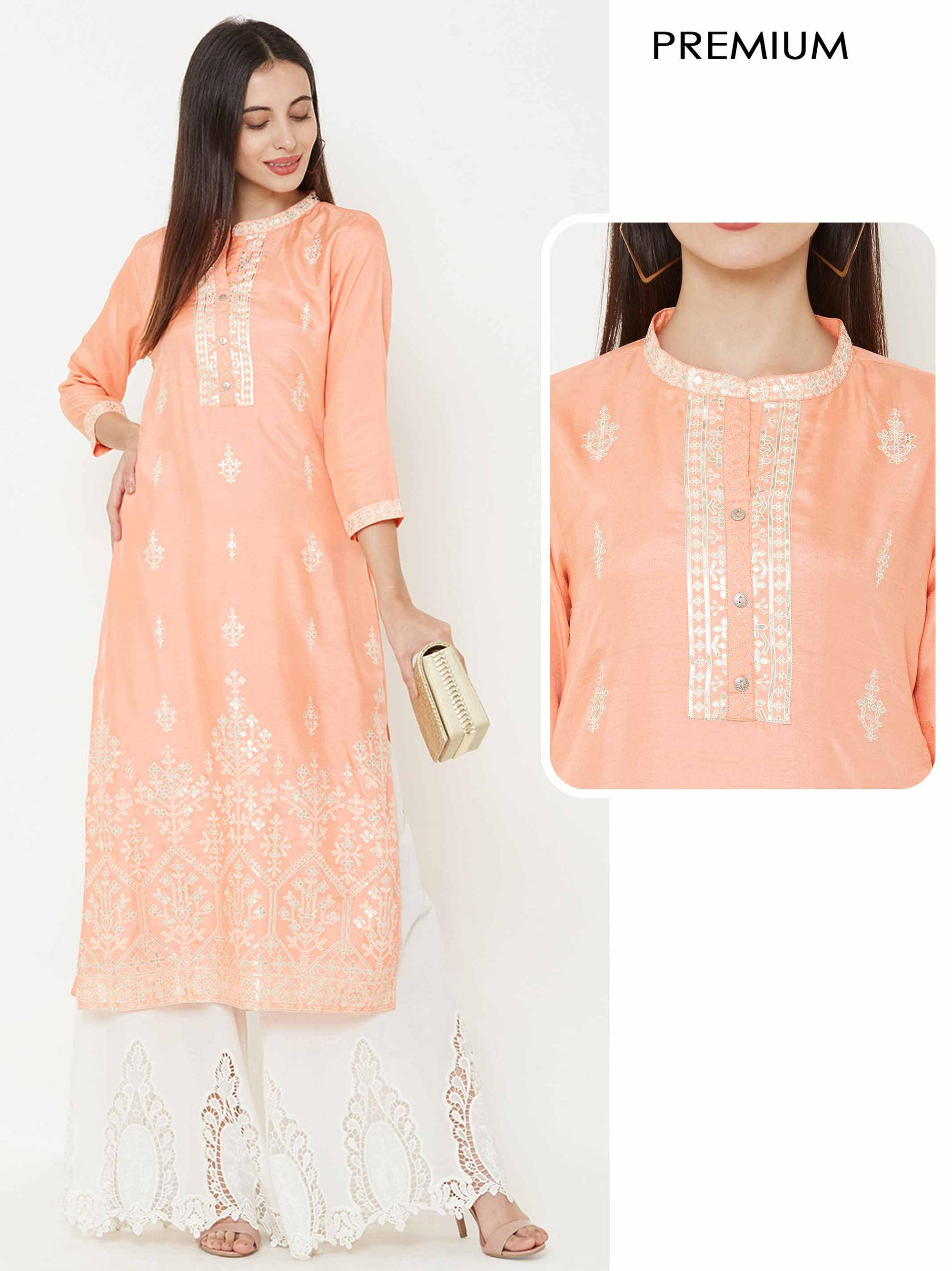 Abstract Printed kurta with crochet lace detailing – Peach