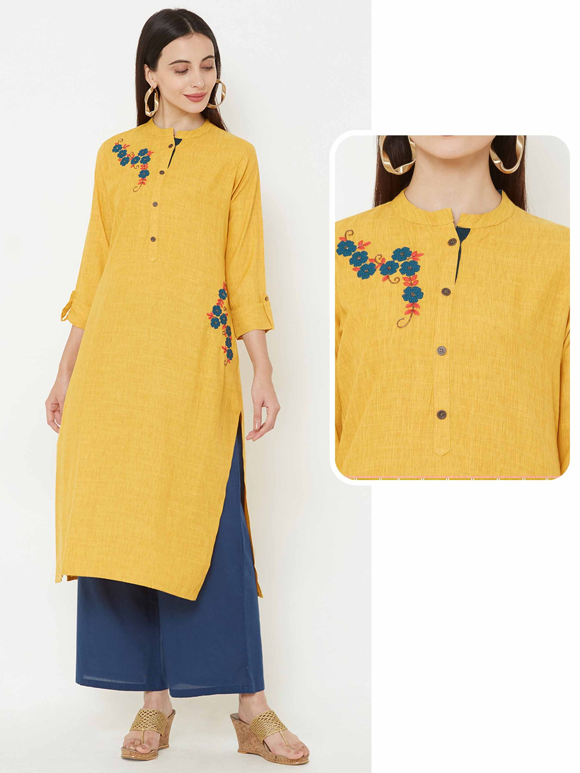 Applique embroidered kurta – Mustard