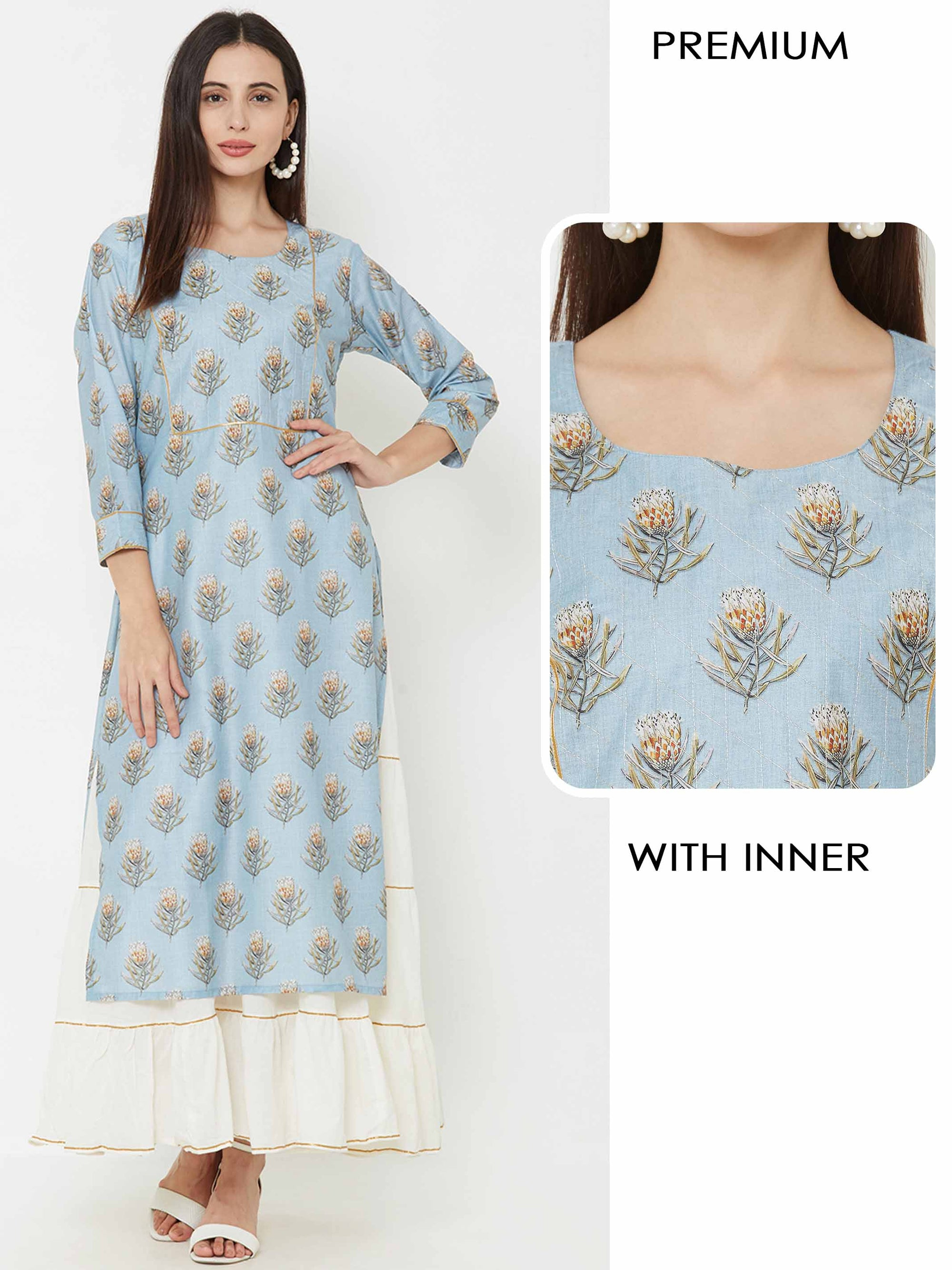 Floral printed kurta layered with Tiered Maxi – Powder Blue
