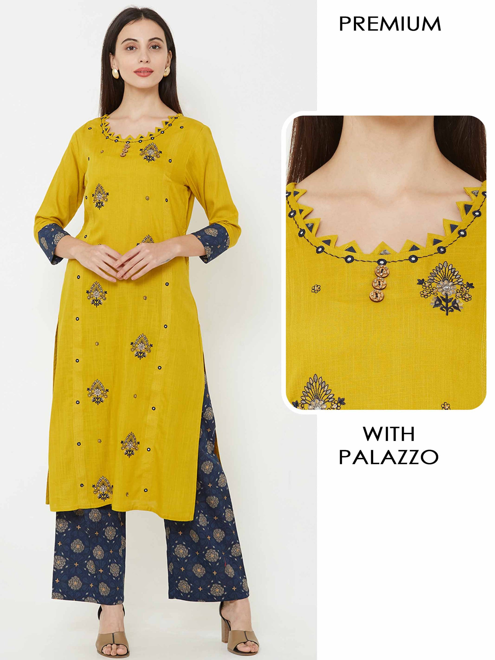 Floral embroidered temple tab Kurta with floral printed palazzo - Mustard