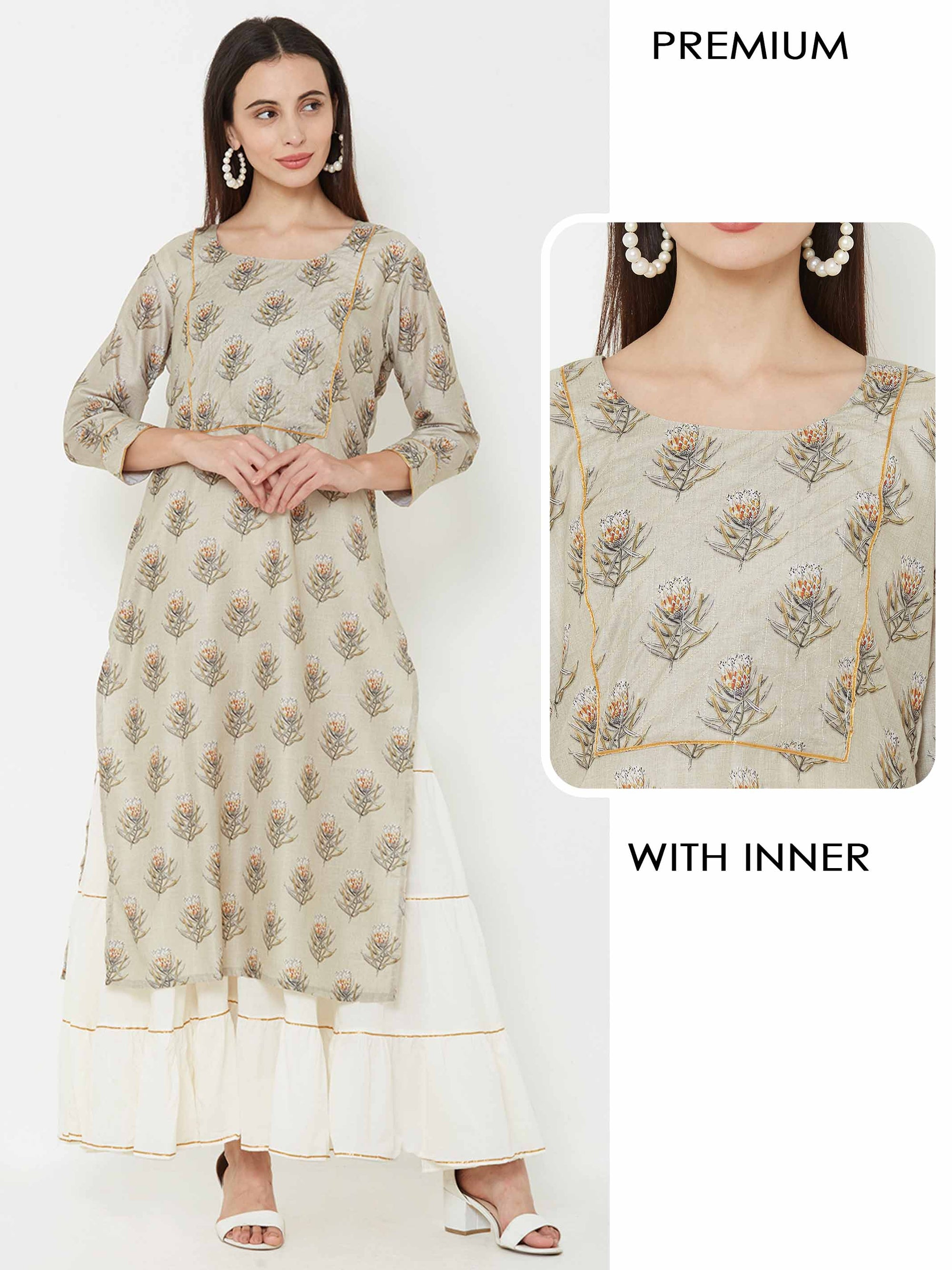 Floral printed kurta layered with Tiered Maxi – Grey