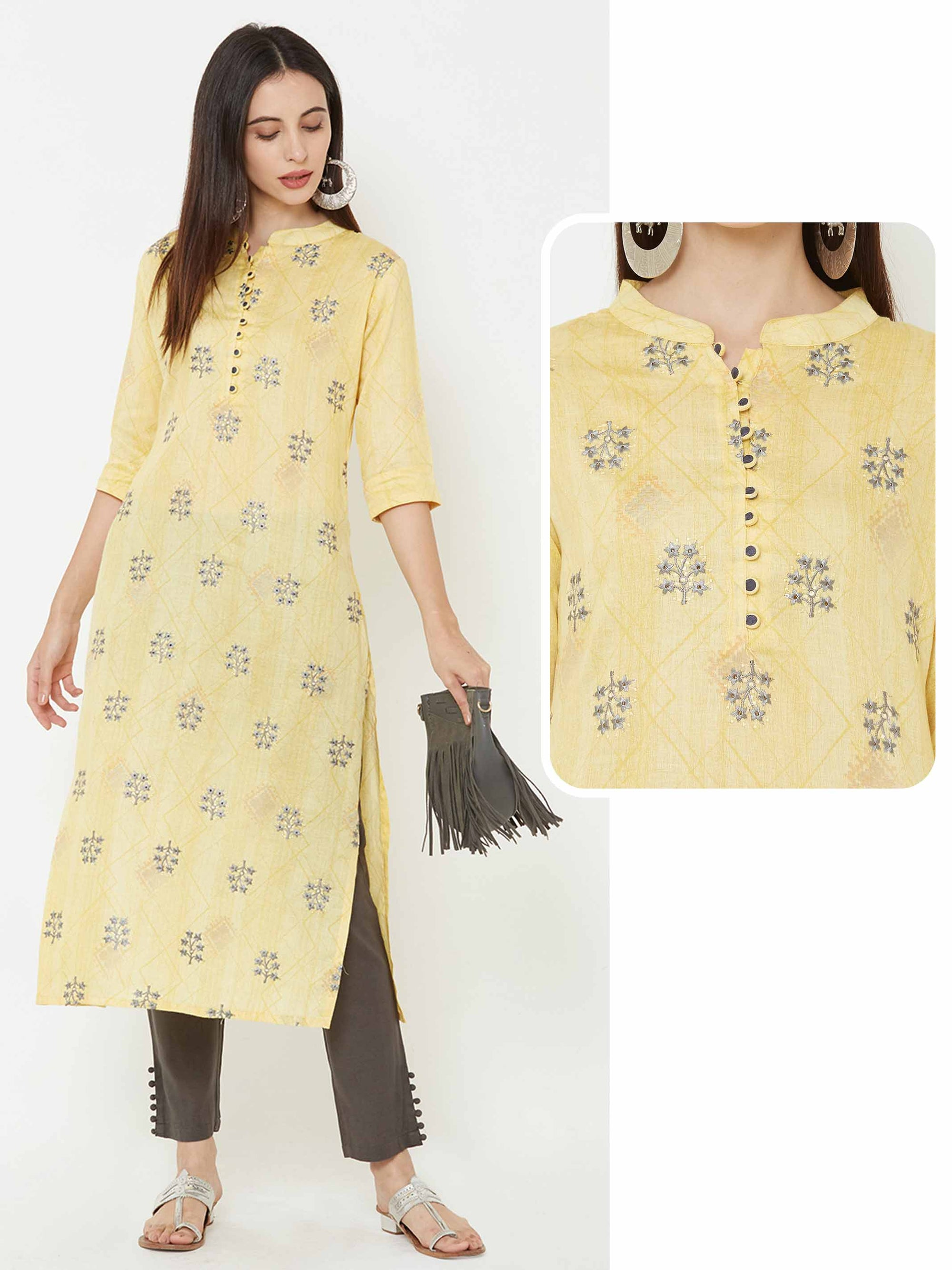 Floral Embroidered Potli buttoned kurta – Yellow