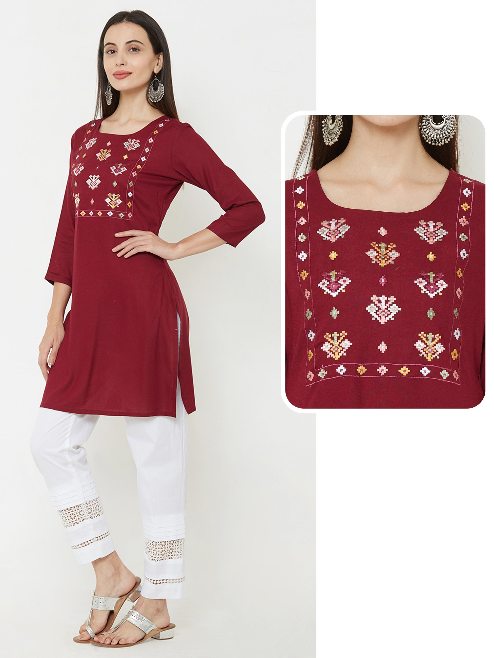 Abstract embroidered short kurta – Maroon
