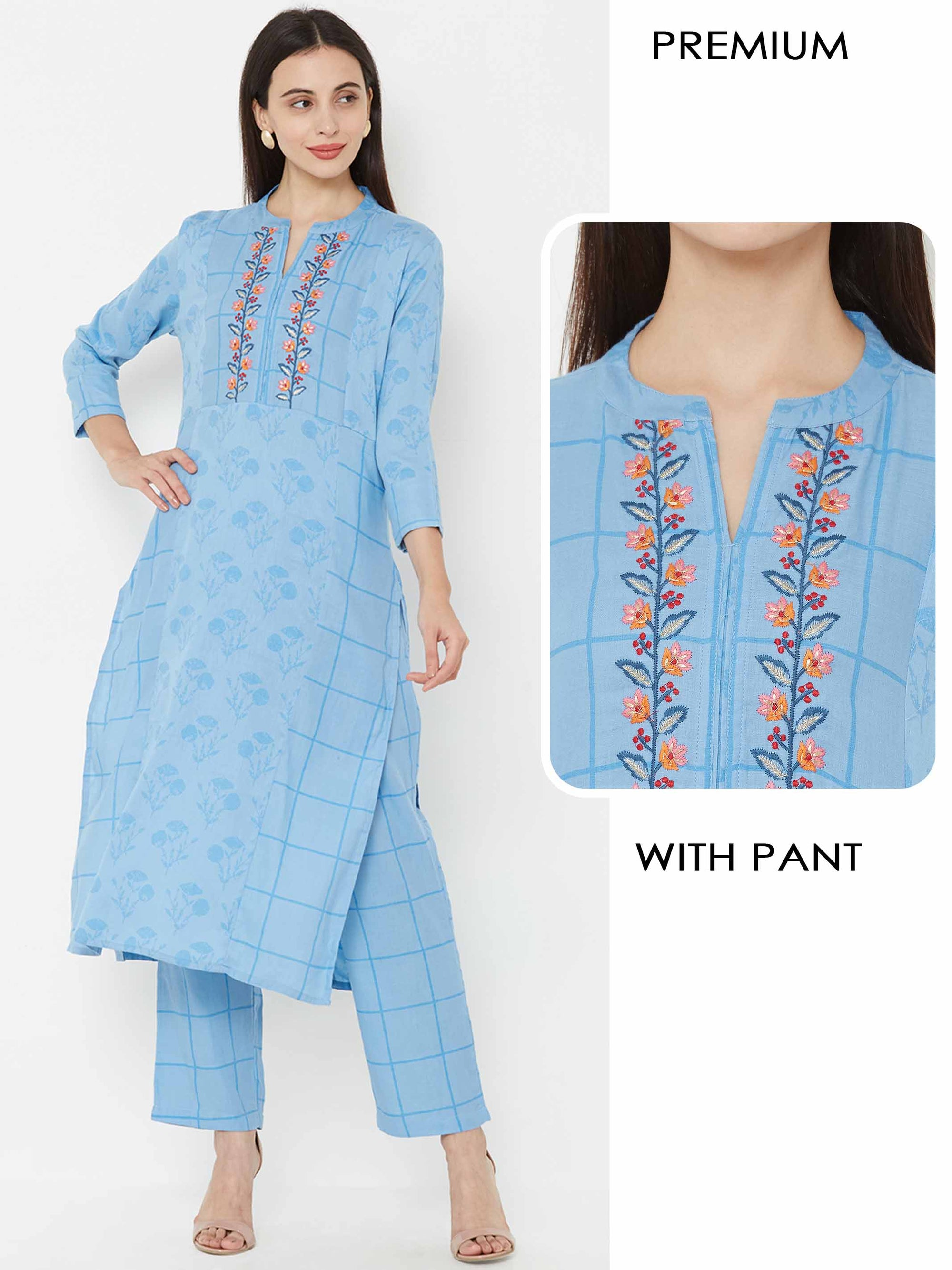 Minimal Floral Embroidered Kurta, checkered printed pant – Powder Blue
