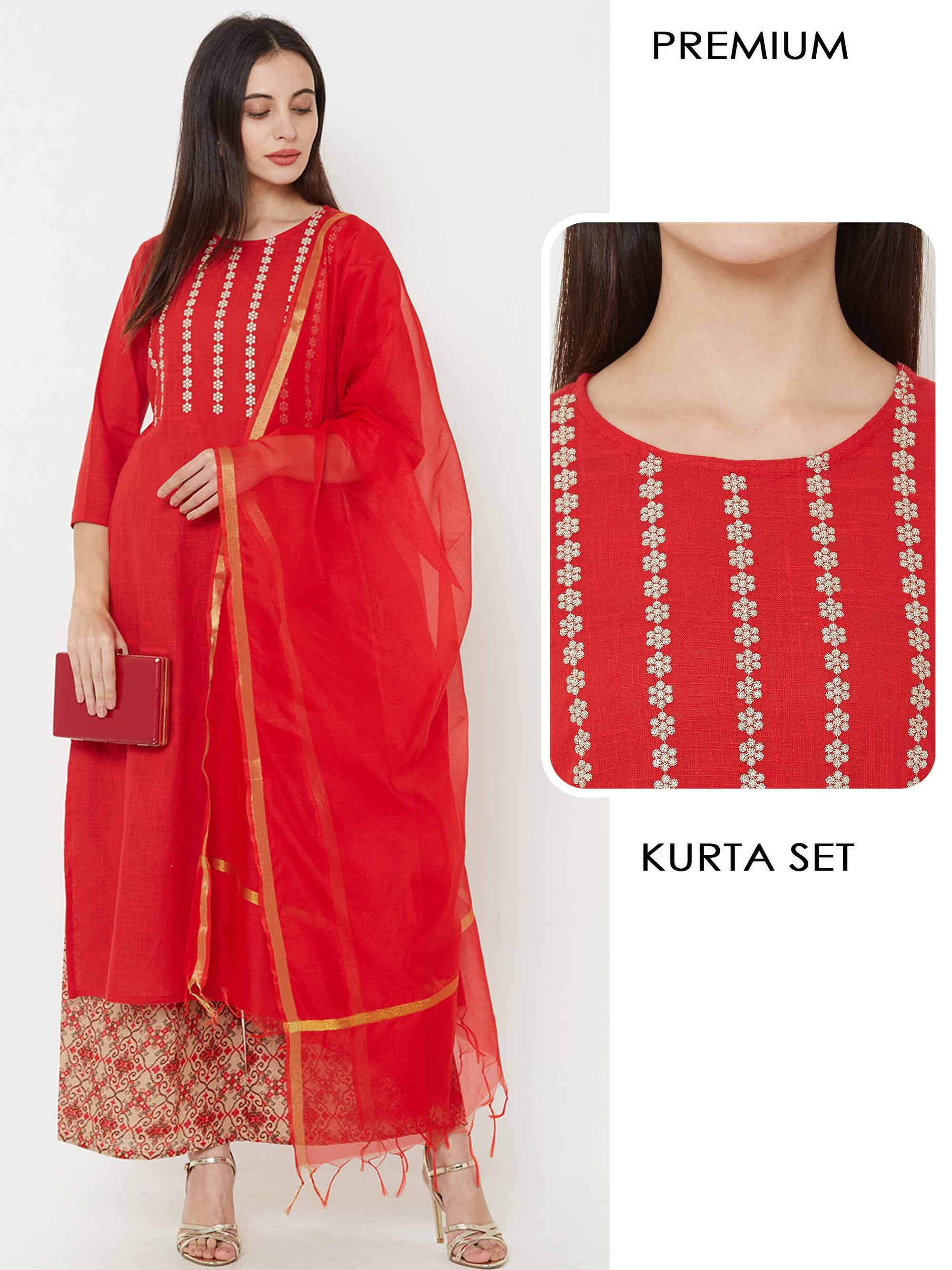 Zari Embroidered Kurta With Printed Palazzo & Matching Dupatta - Red