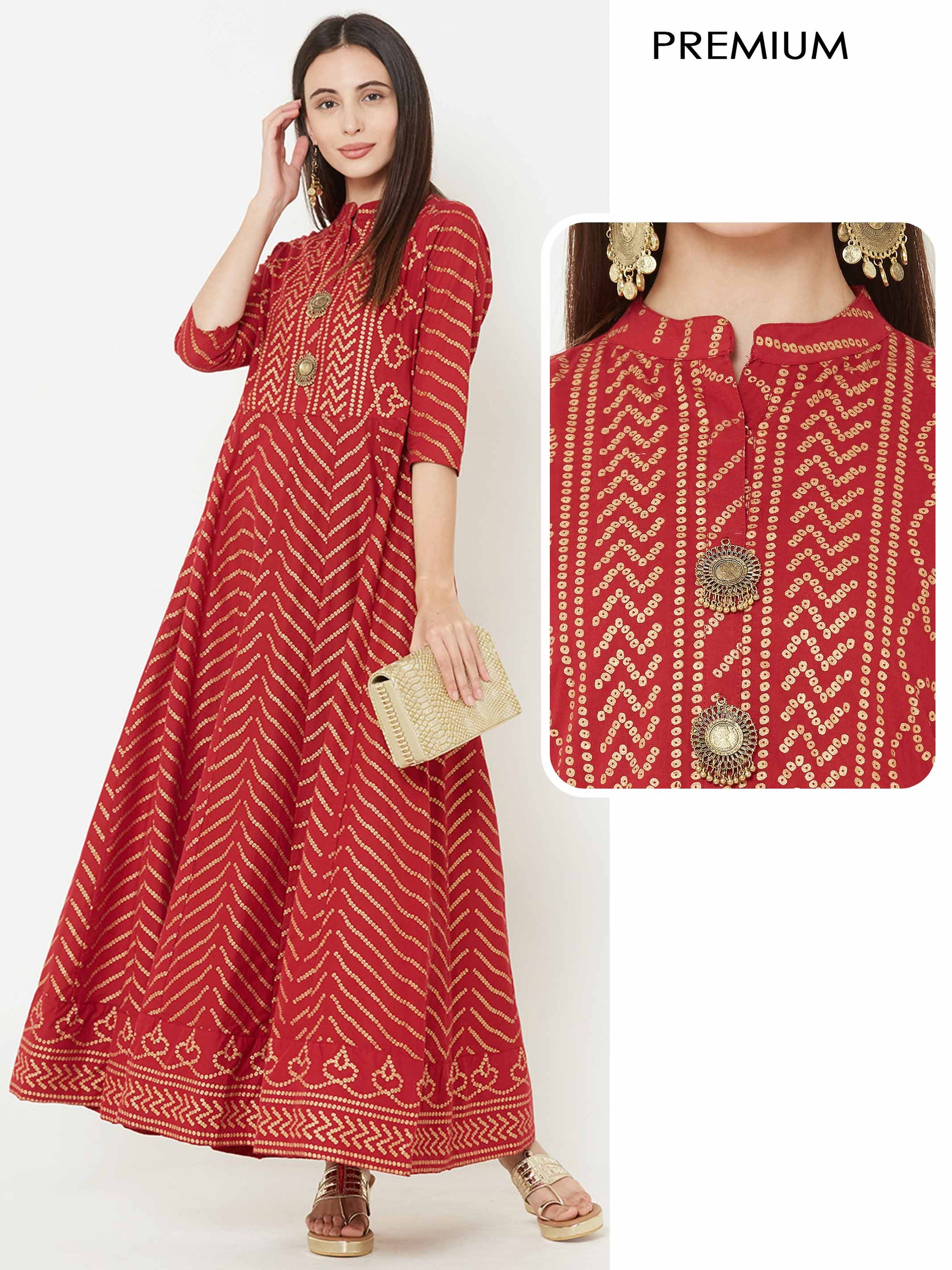 Bandhani Foil Printed Panelled flared Kurta – Red