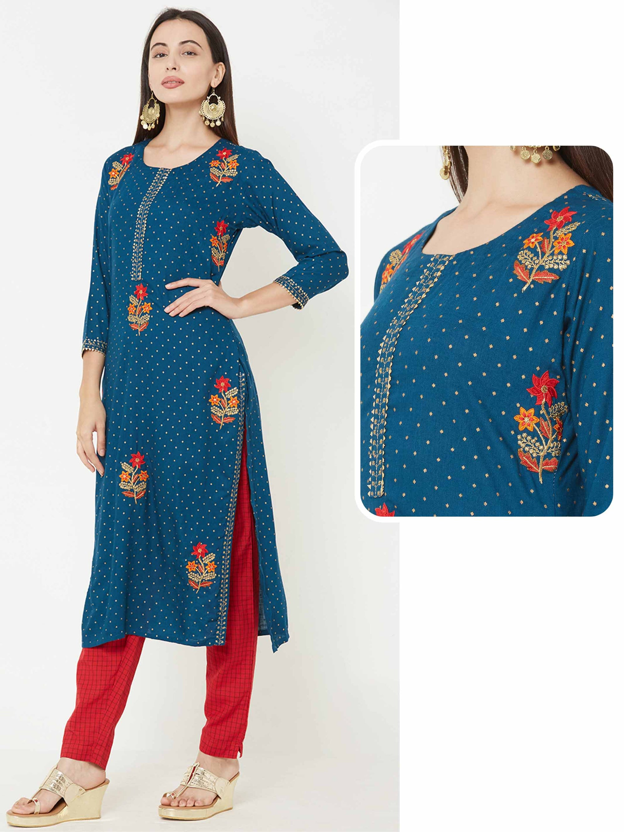 Floral Embroidered & Foil Printed Straight Kurta – Teal