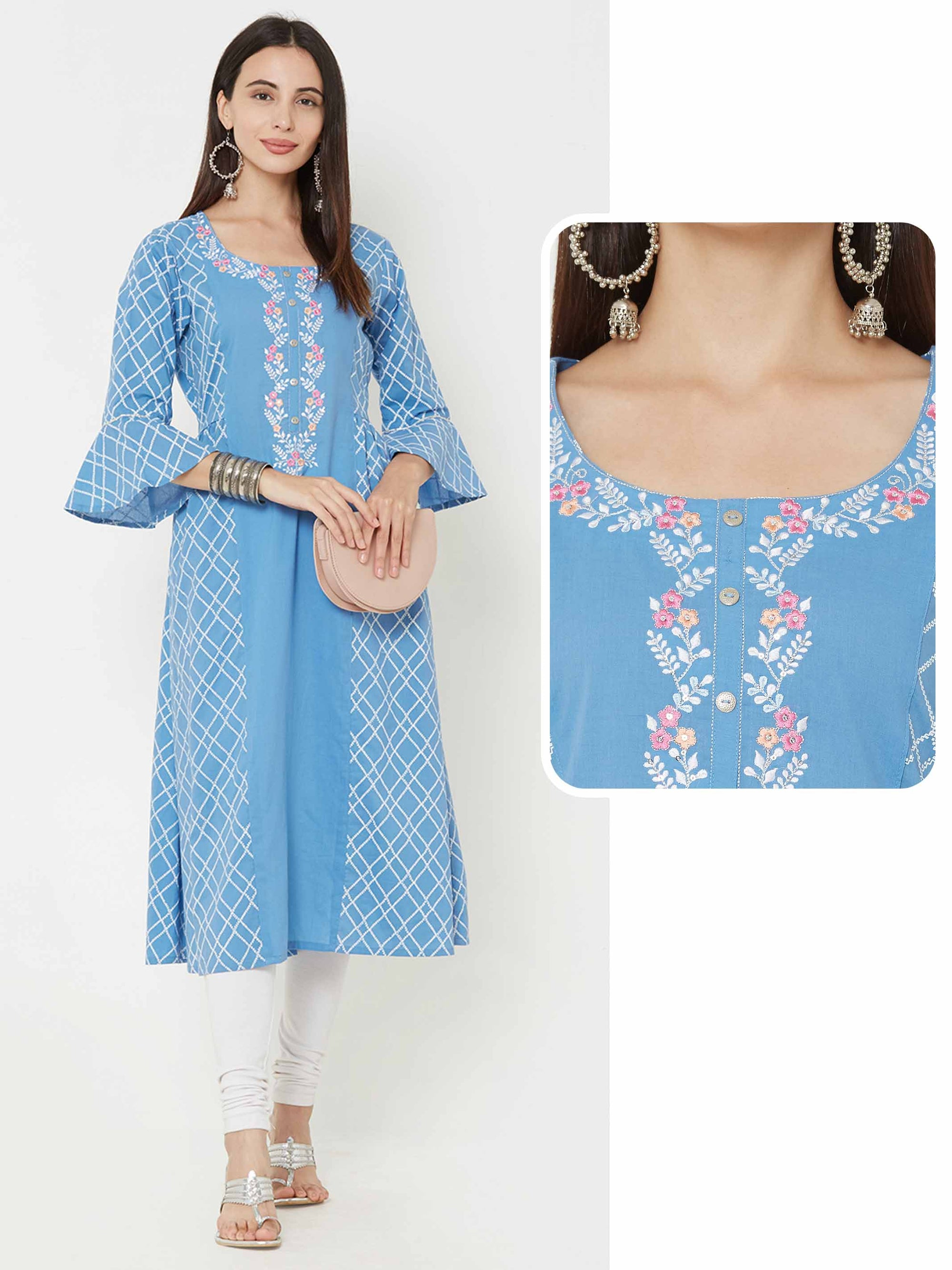 Lattice Printed & side gathered A-Line kurta – Sky Blue