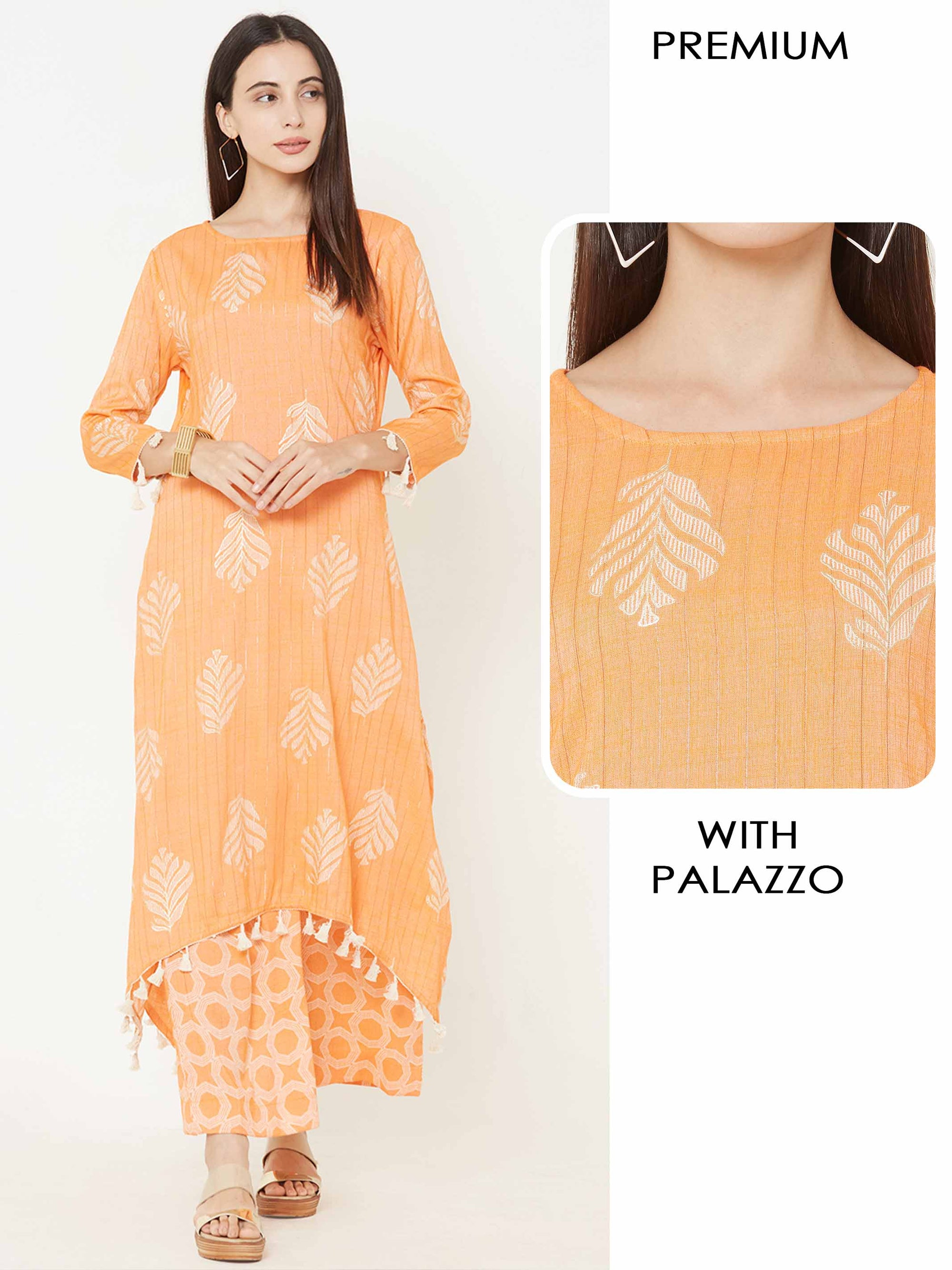 Striped & printed Asymmetrical kurta with geometric Printed Palazzo – Orange