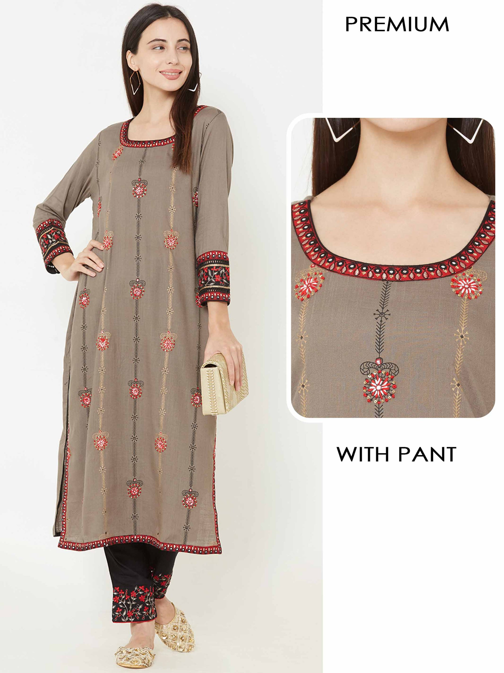 Floral Printed & Embroidered Kurta with Floral Embroidered Pant – Brown