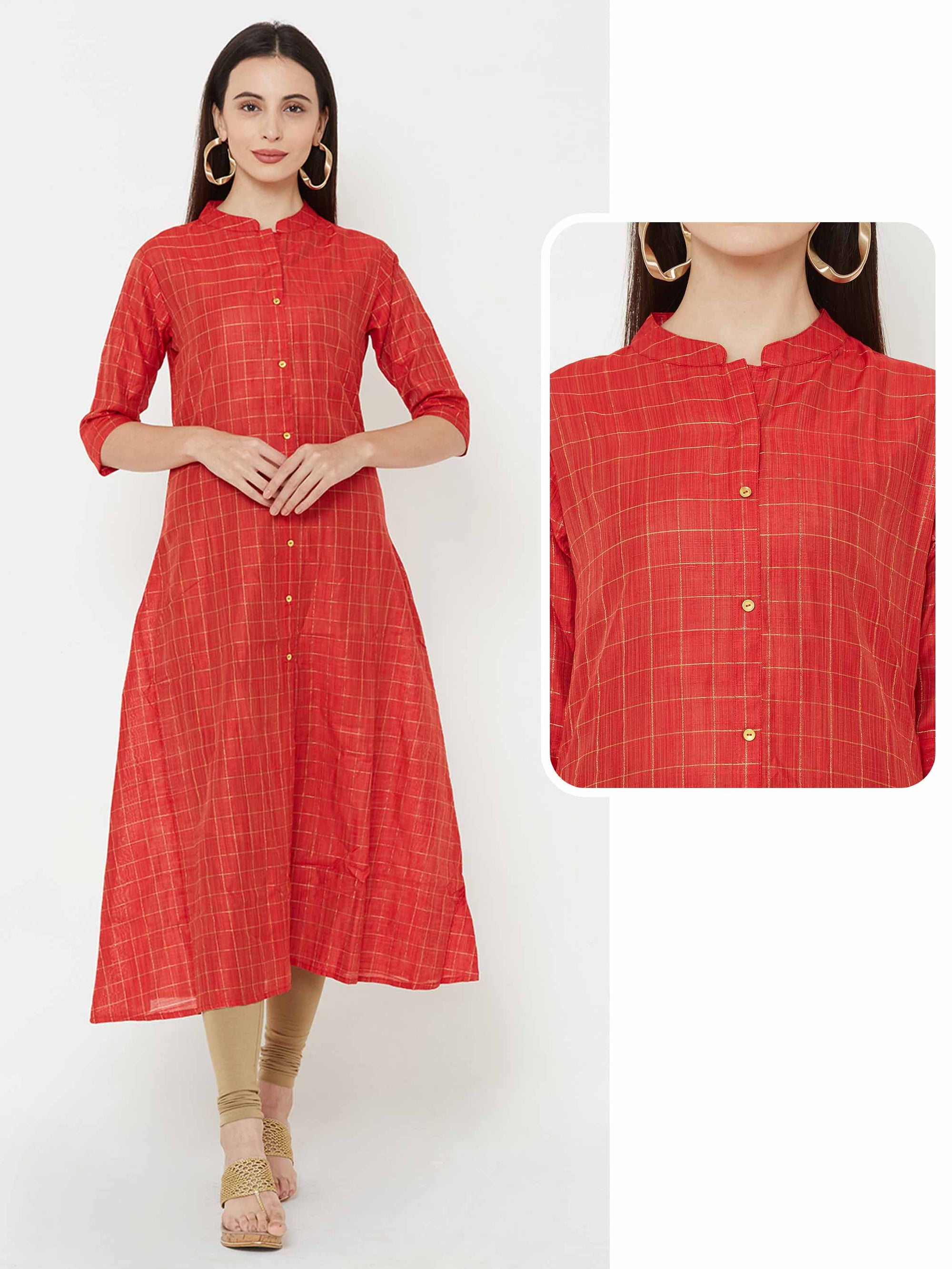Golden Zari Woven Checks A-Line Kurta – Red