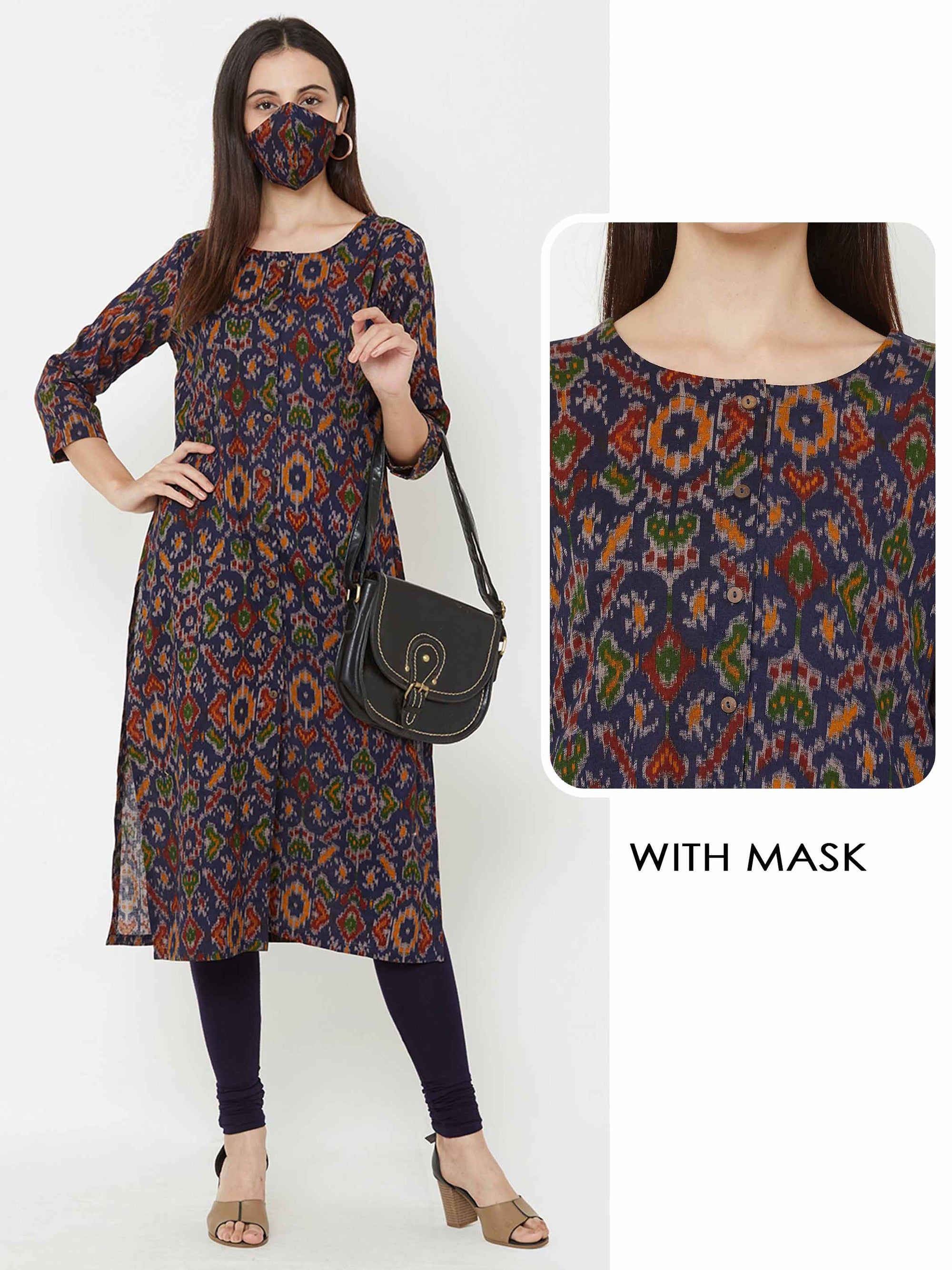 Ikkat Printed Kurta with Matching Mask – Blue