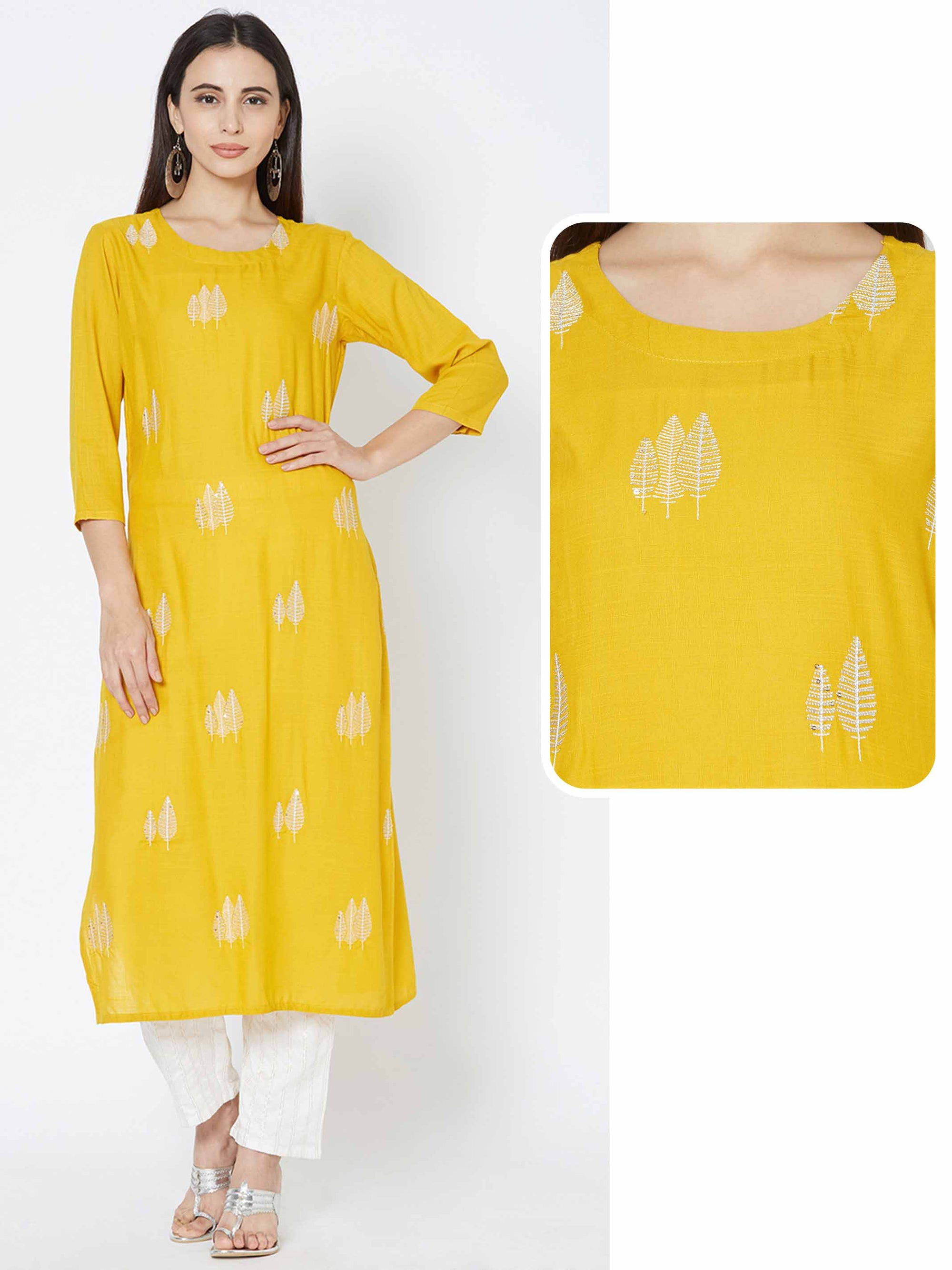 Leaf Zari Embroidered Kurta - Mustard