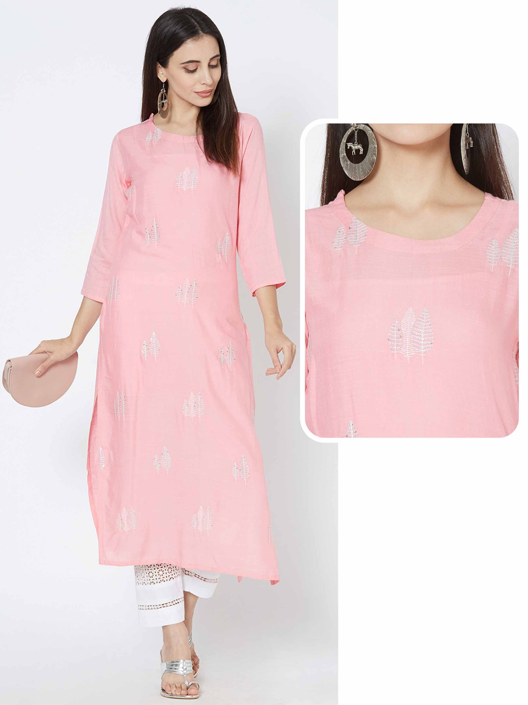 Leaf Zari Embroidered Kurta - Pink