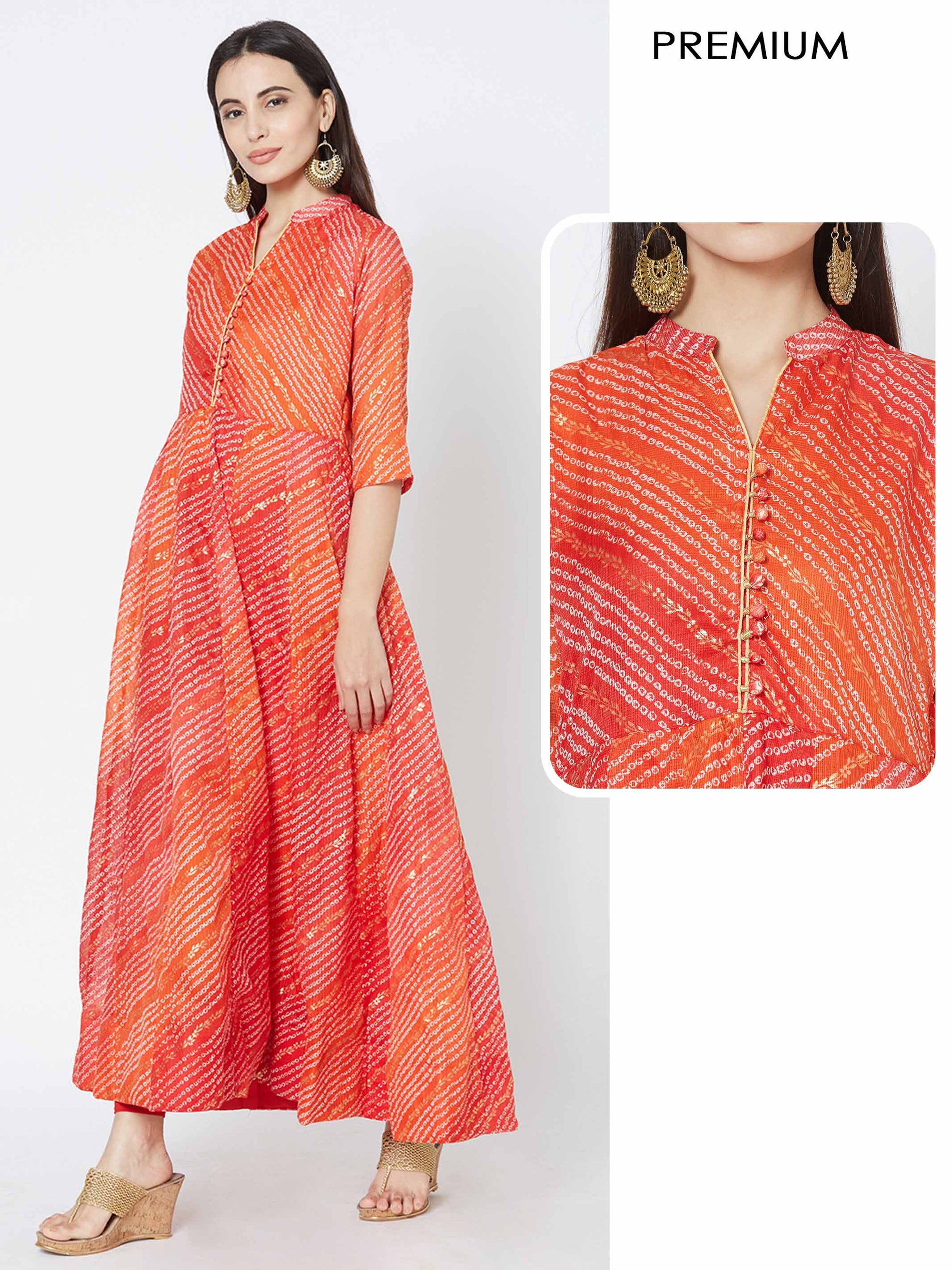 Bandhani & Foil Printed Flared Kurta - Orange