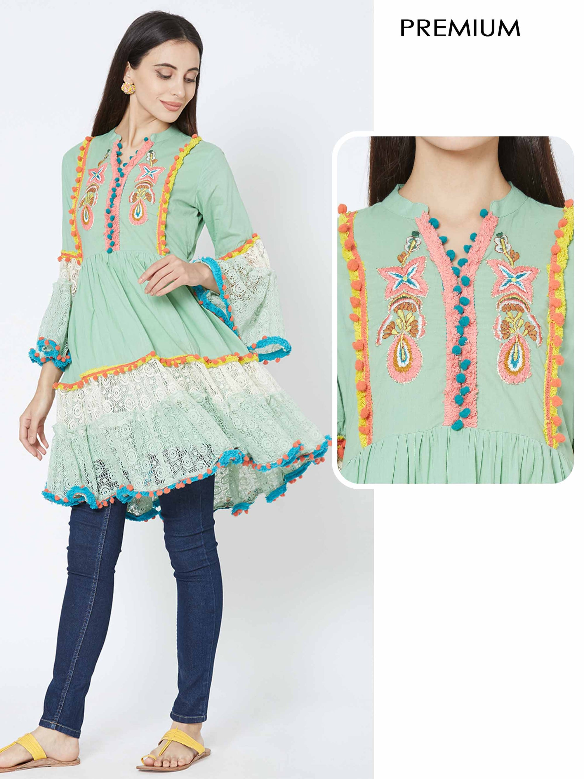Floral Embroidered & cotton laces Ruffles Kurti – Lime Green