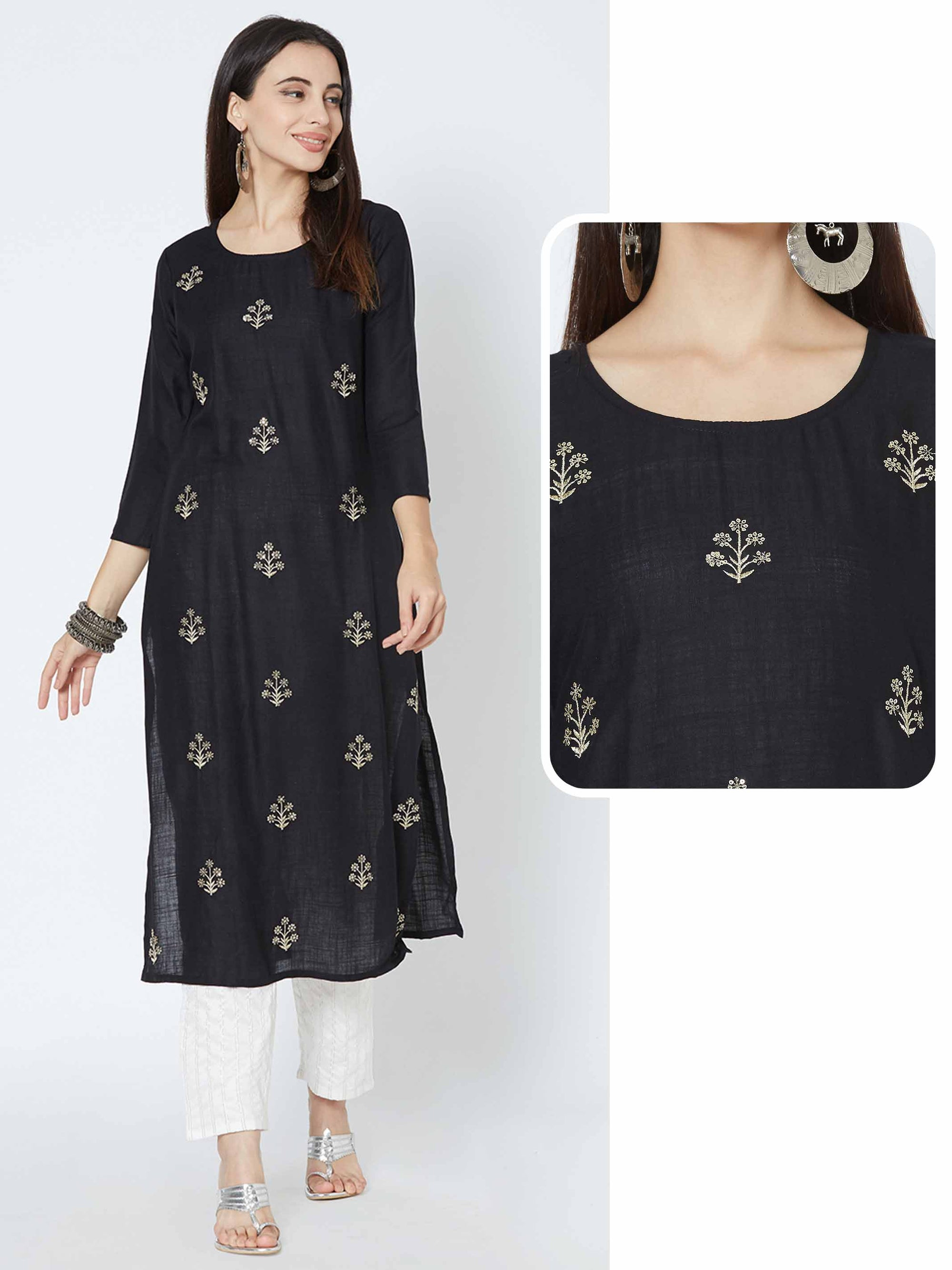 Ethnic Zari Embroidered Straight Kurta - Black