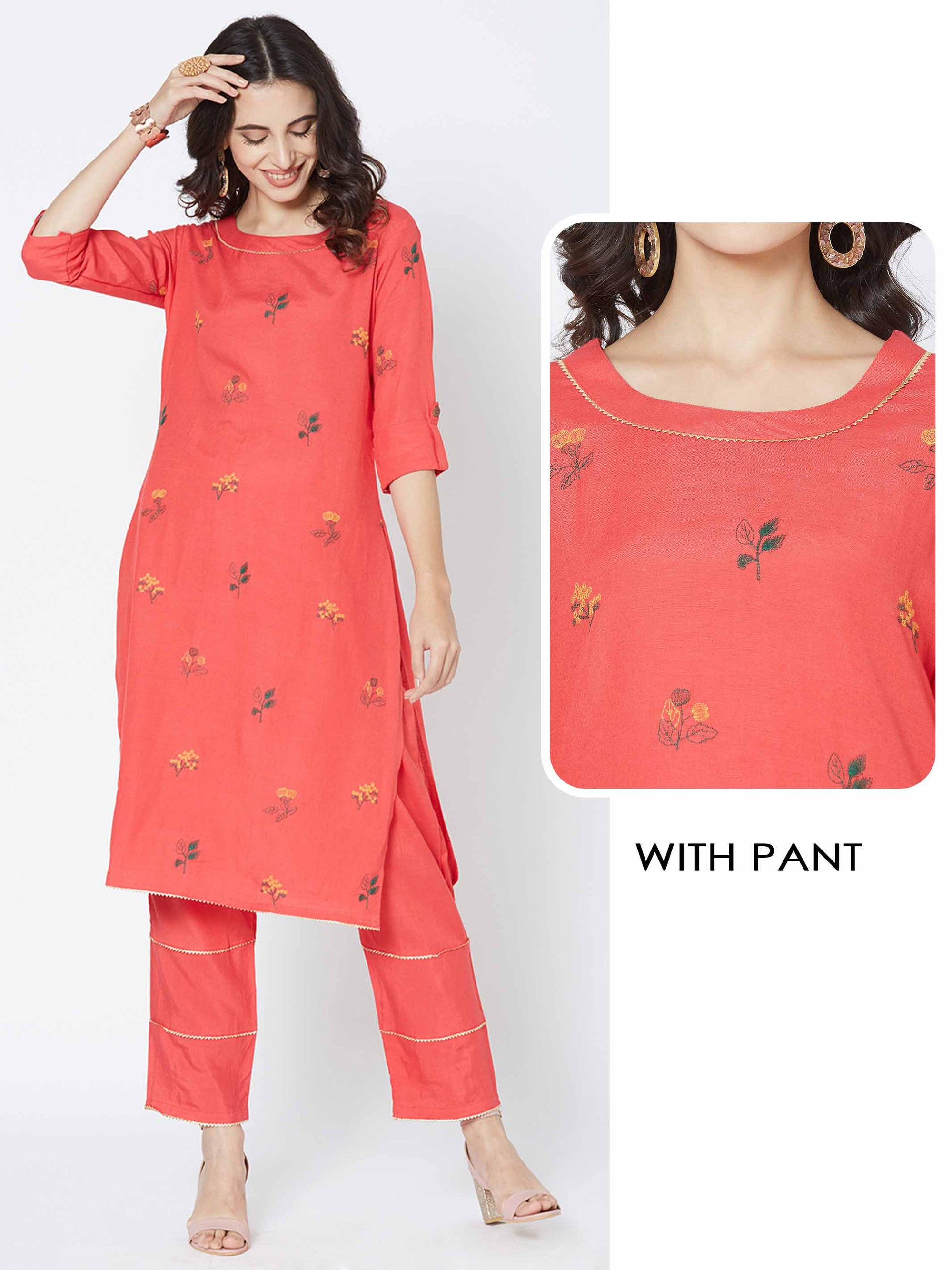 Floral Embroidered Kurta with Matching Solid Pant – Red