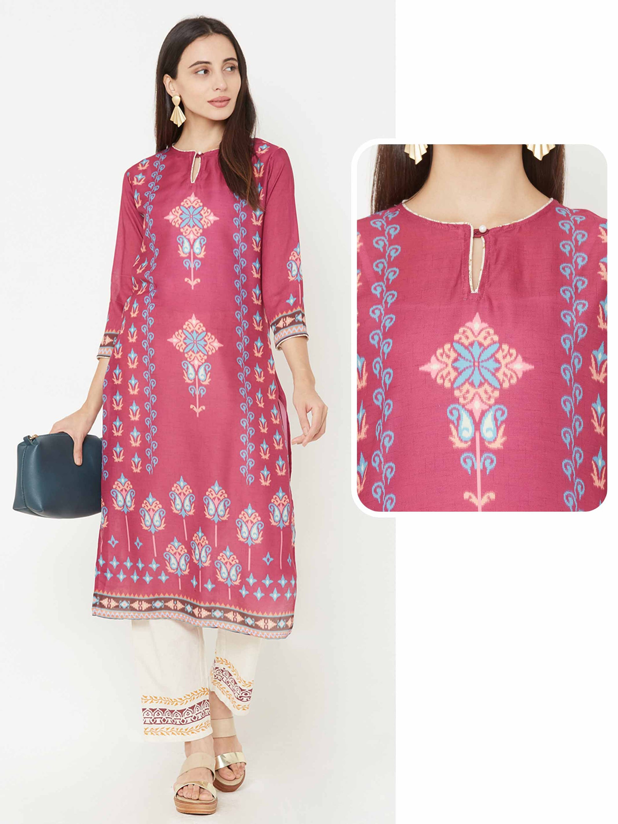 Ikkat Placement Printed Straight Kurta – Pink