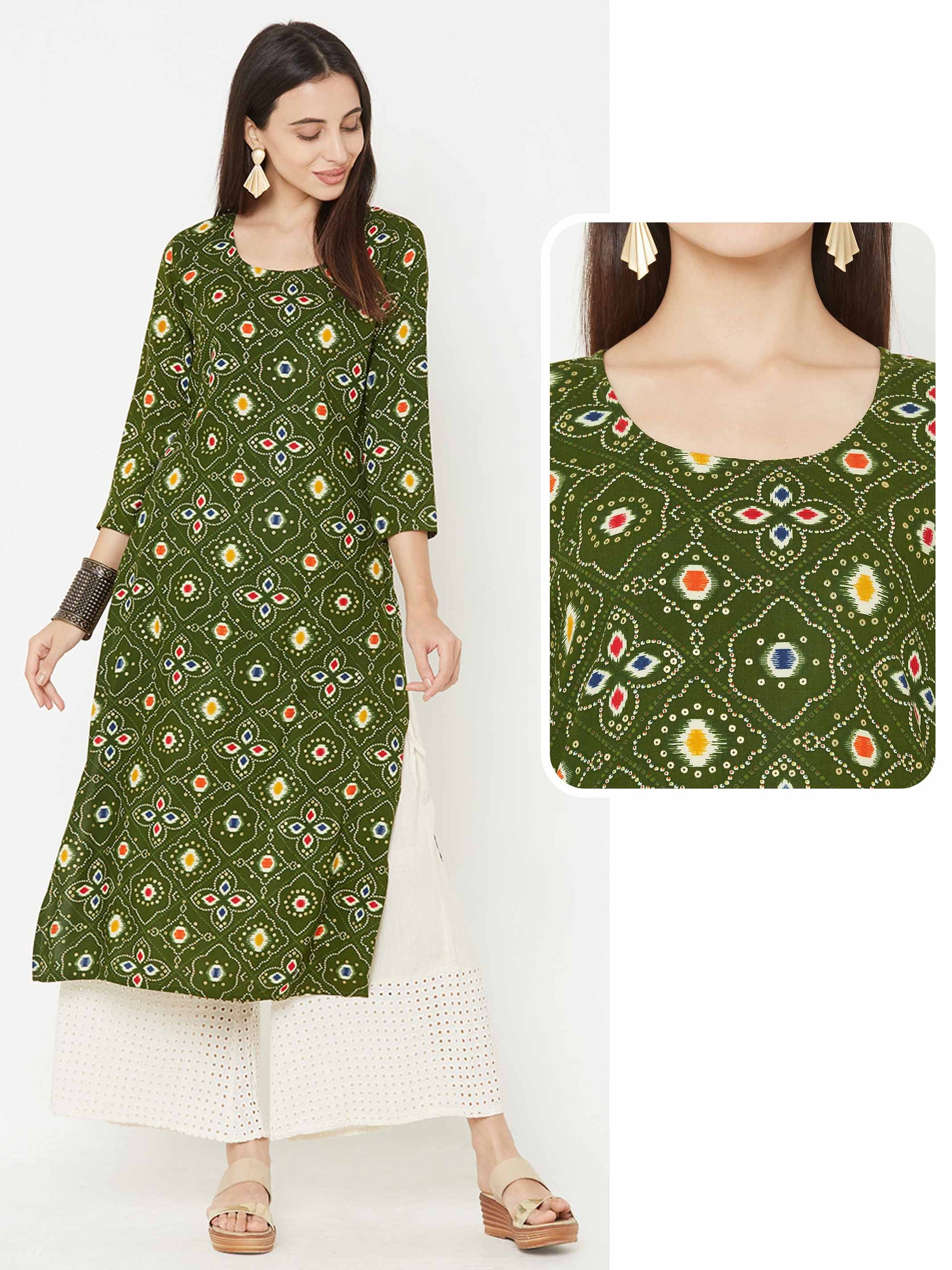 Ikkat Mix Printed kurta – Green