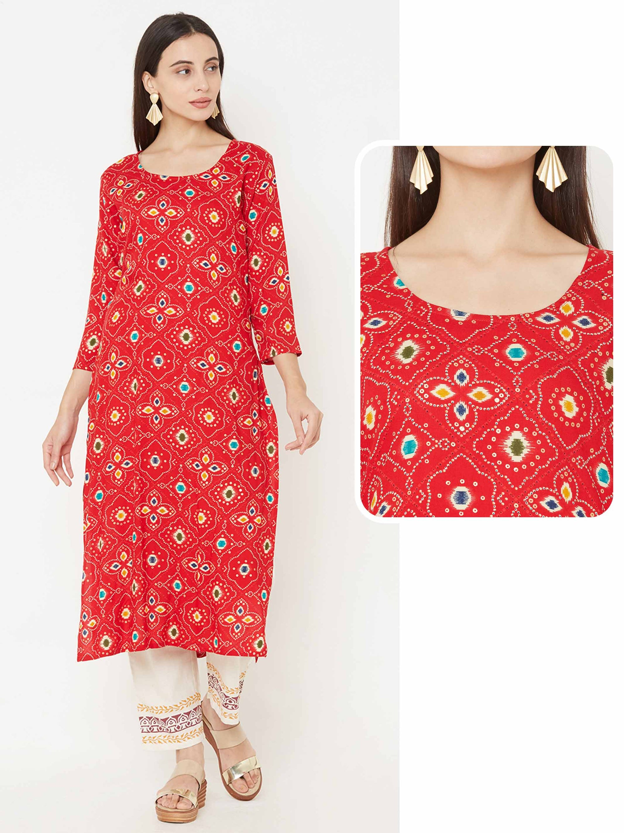 Ikkat Mix Printed kurta – Red