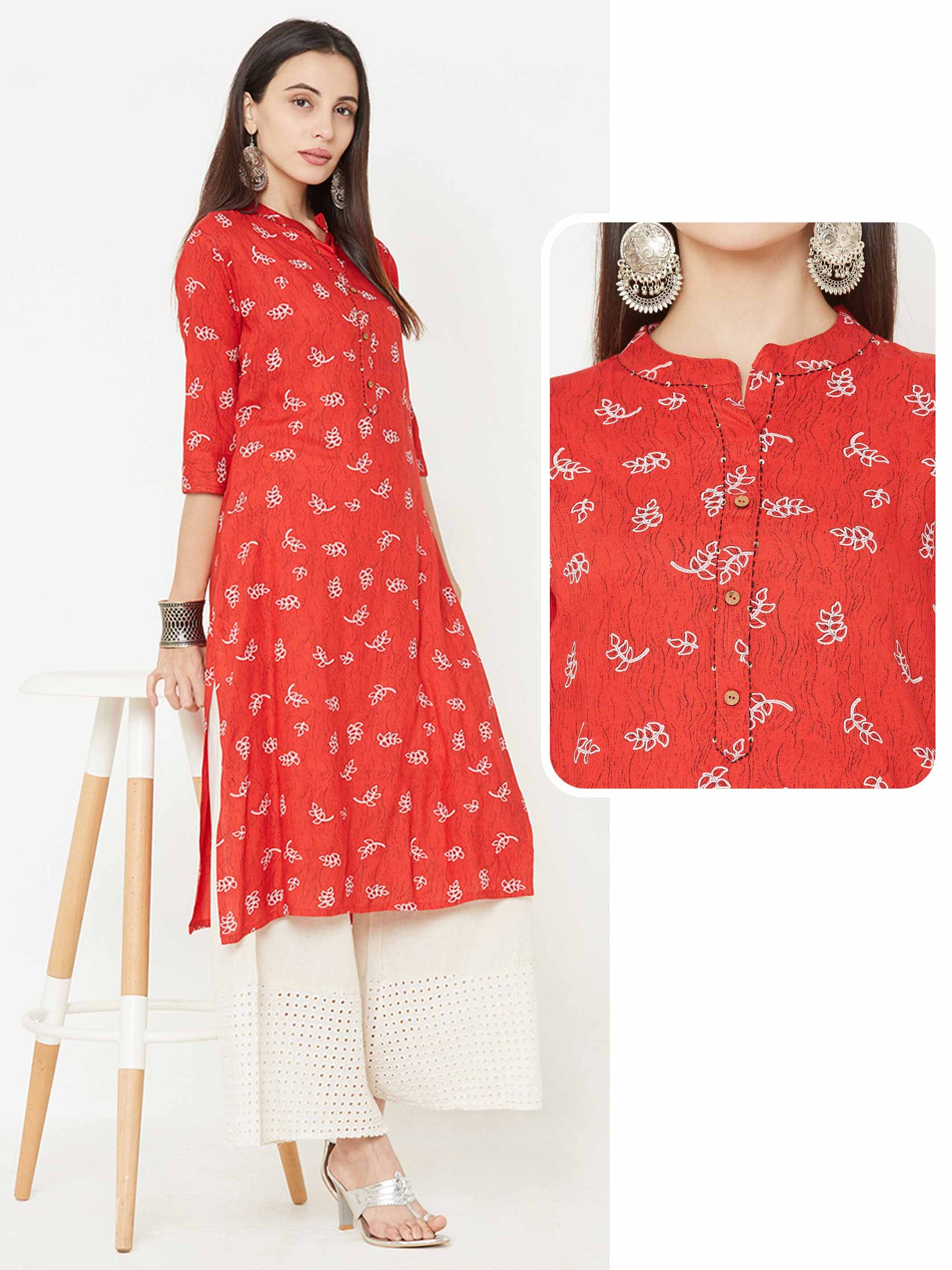 Leaf Prints over Distressed Printed Straight Kurta – Red