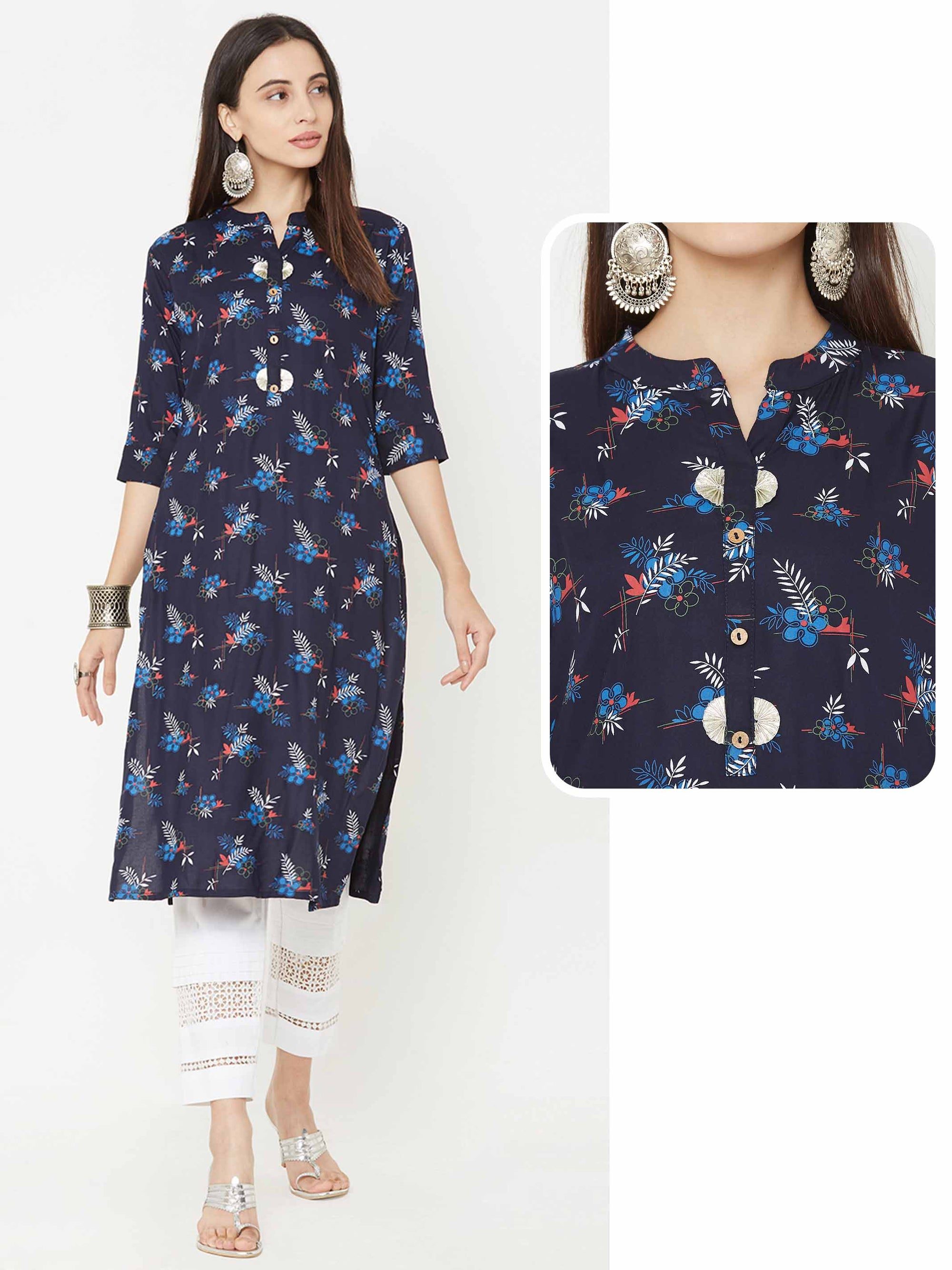 Quirky Floral & Leaf Printed Straight Kurta – Blue