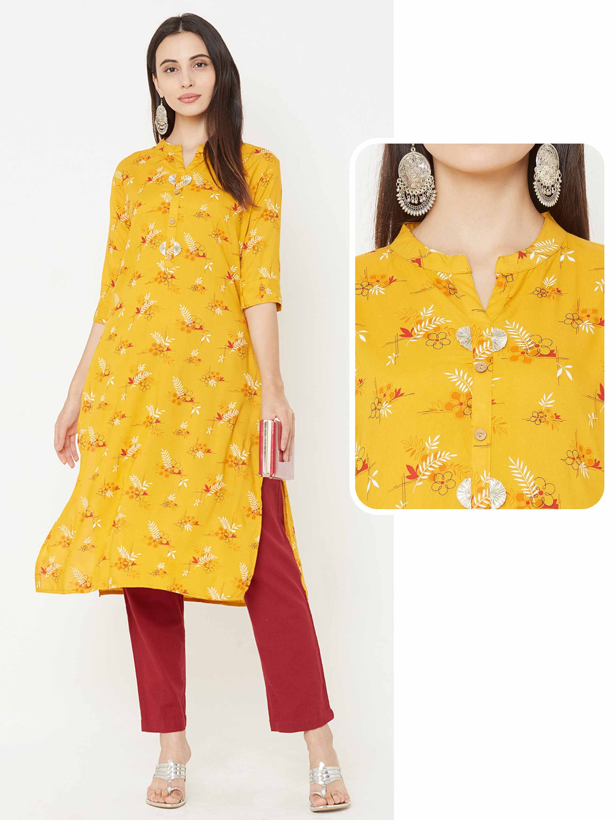 Quirky Floral & Leaf Printed Straight Kurta – Mustard