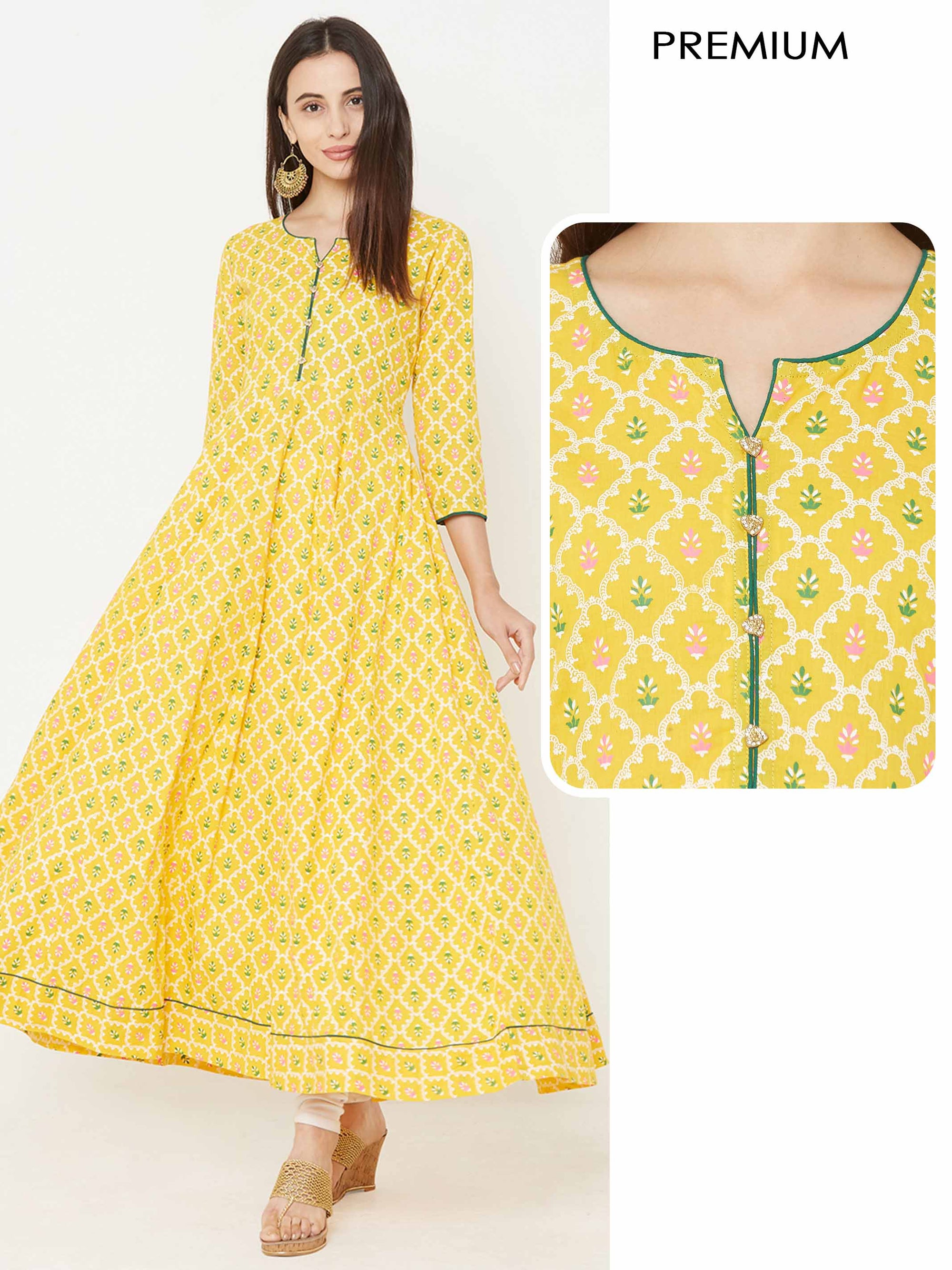 Floral & Lattice Jaal Khari Printed Kurta – Yellow