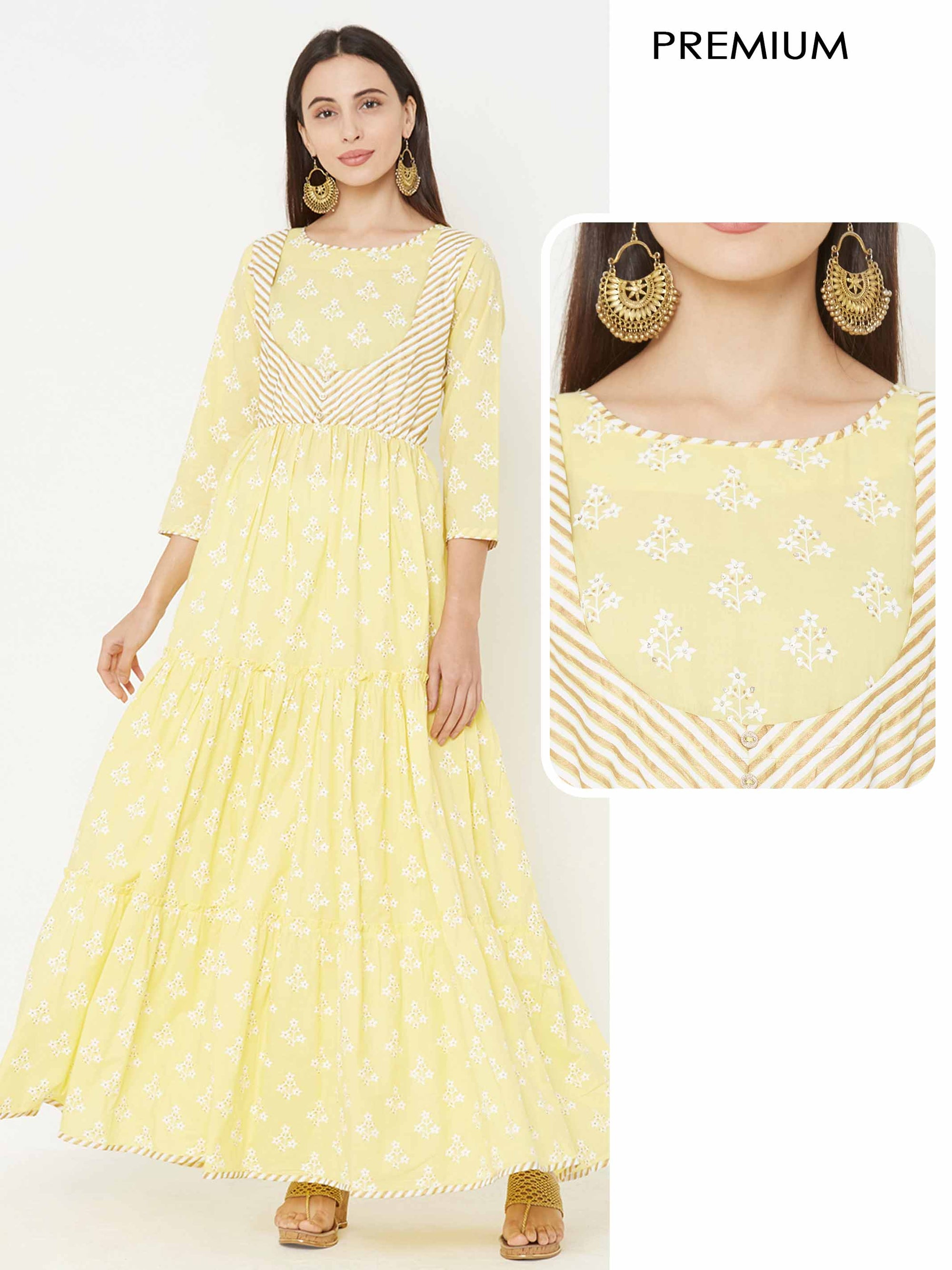 Floral Khari & Foil Printed Tiered Dress – Yellow