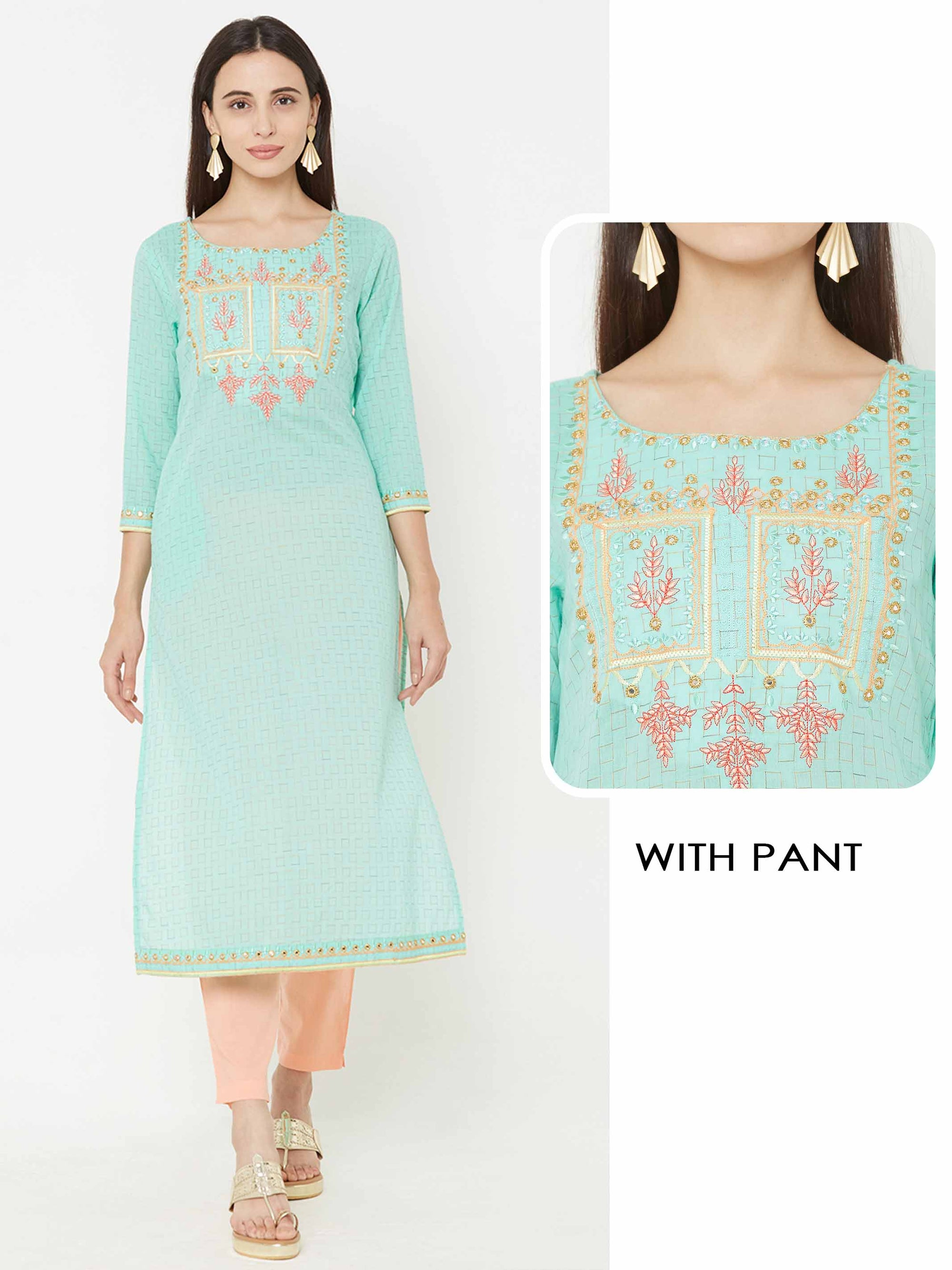 Minimal Squares Woven & Embroidered Yoke Kurta with Solid Pant – Sea Green