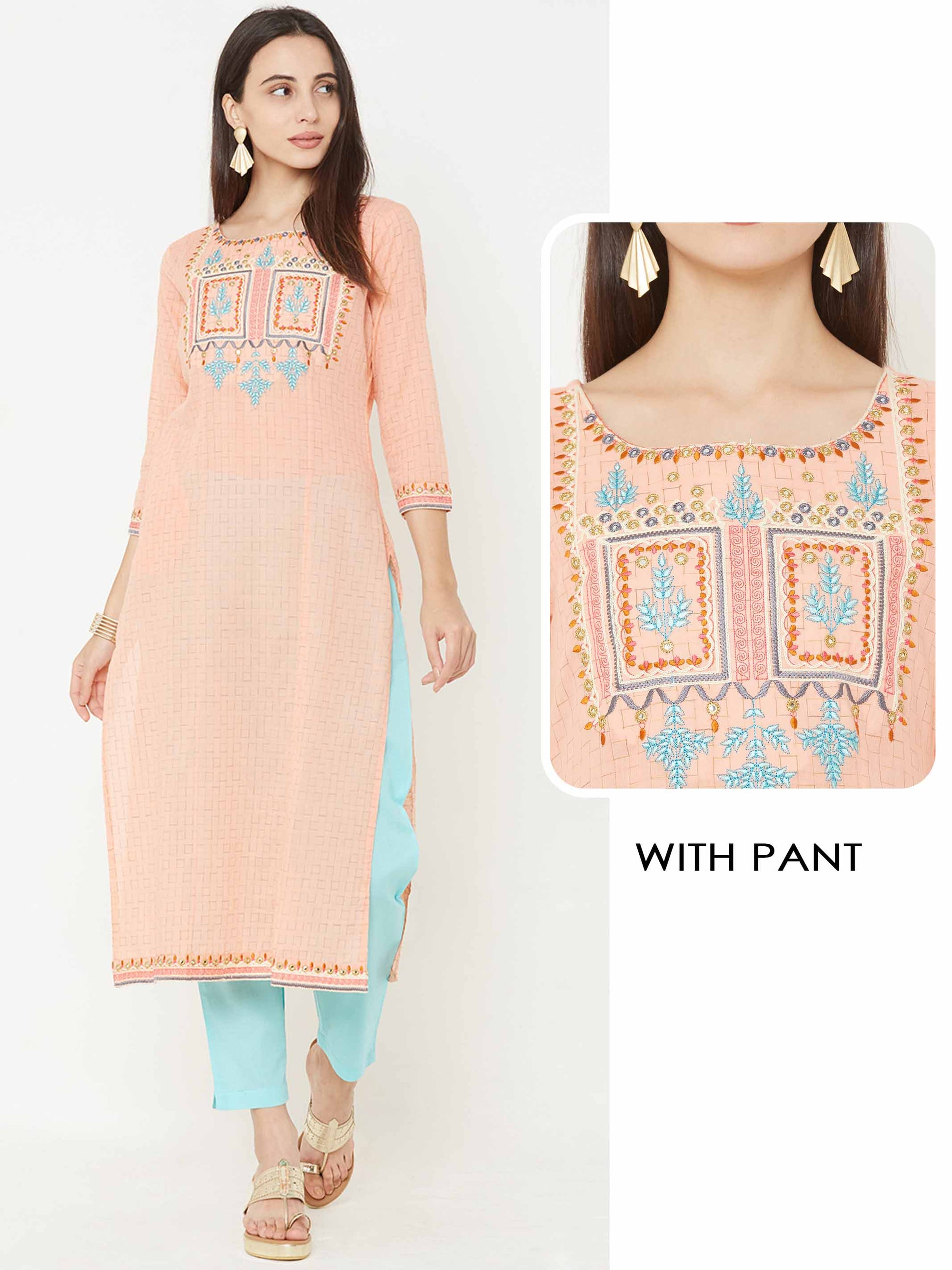 Minimal Squares Woven & Embroidered Yoke Kurta with Solid Pant - Peach